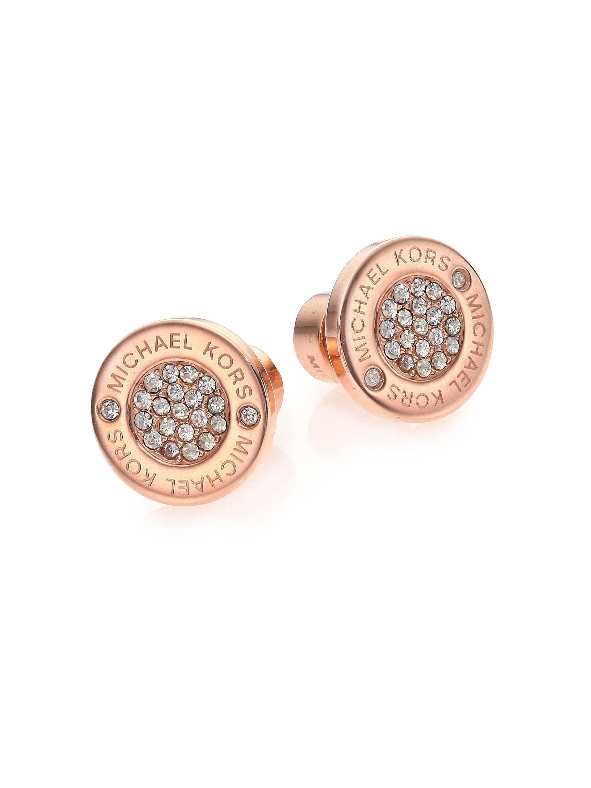 8a5bafab8876 Michael Kors Heritage Plaque Pavé Logo Stud Earrings rose Goldtone ...