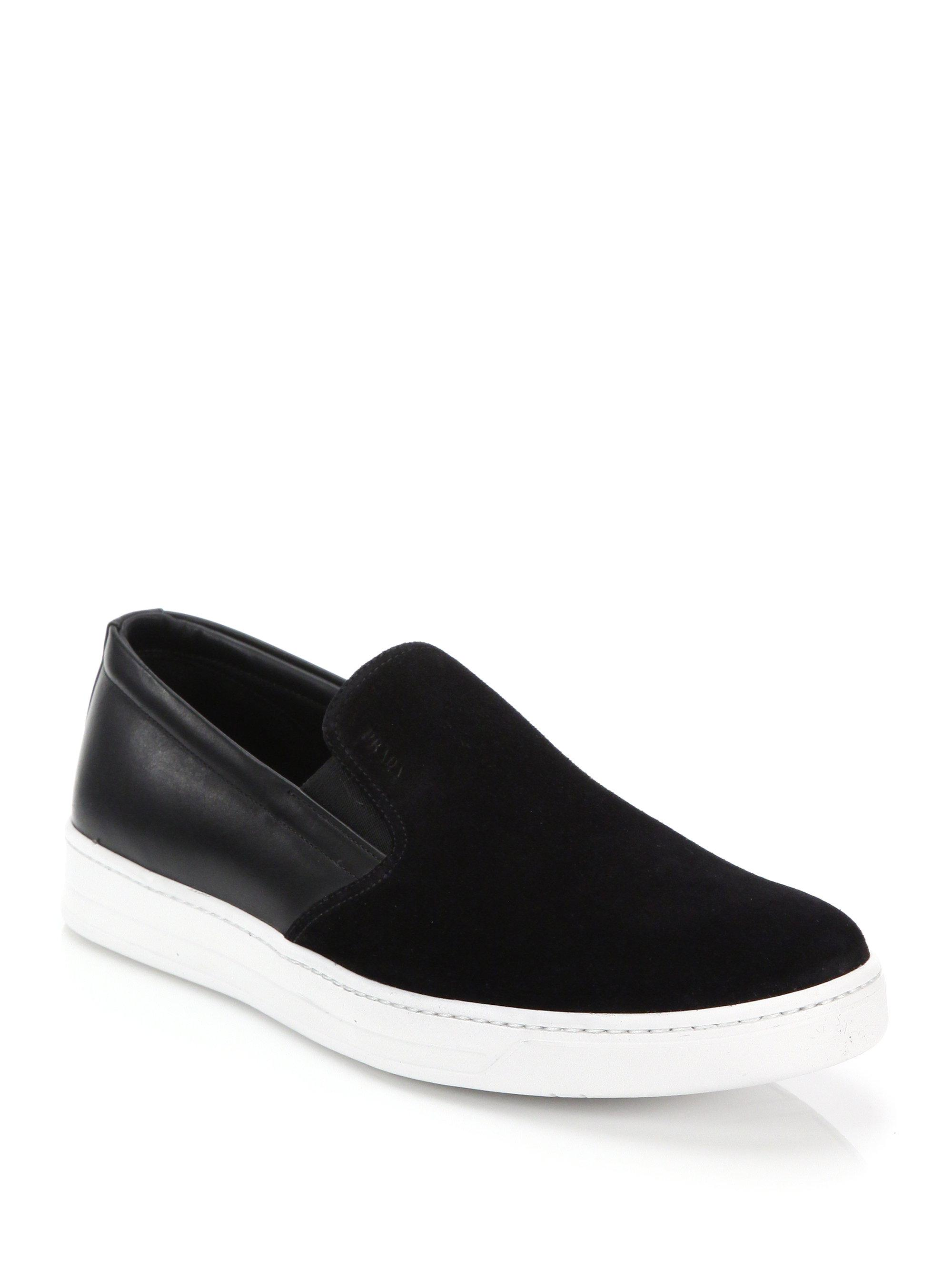 Prada Leather & Suede Sneakers RhaFn