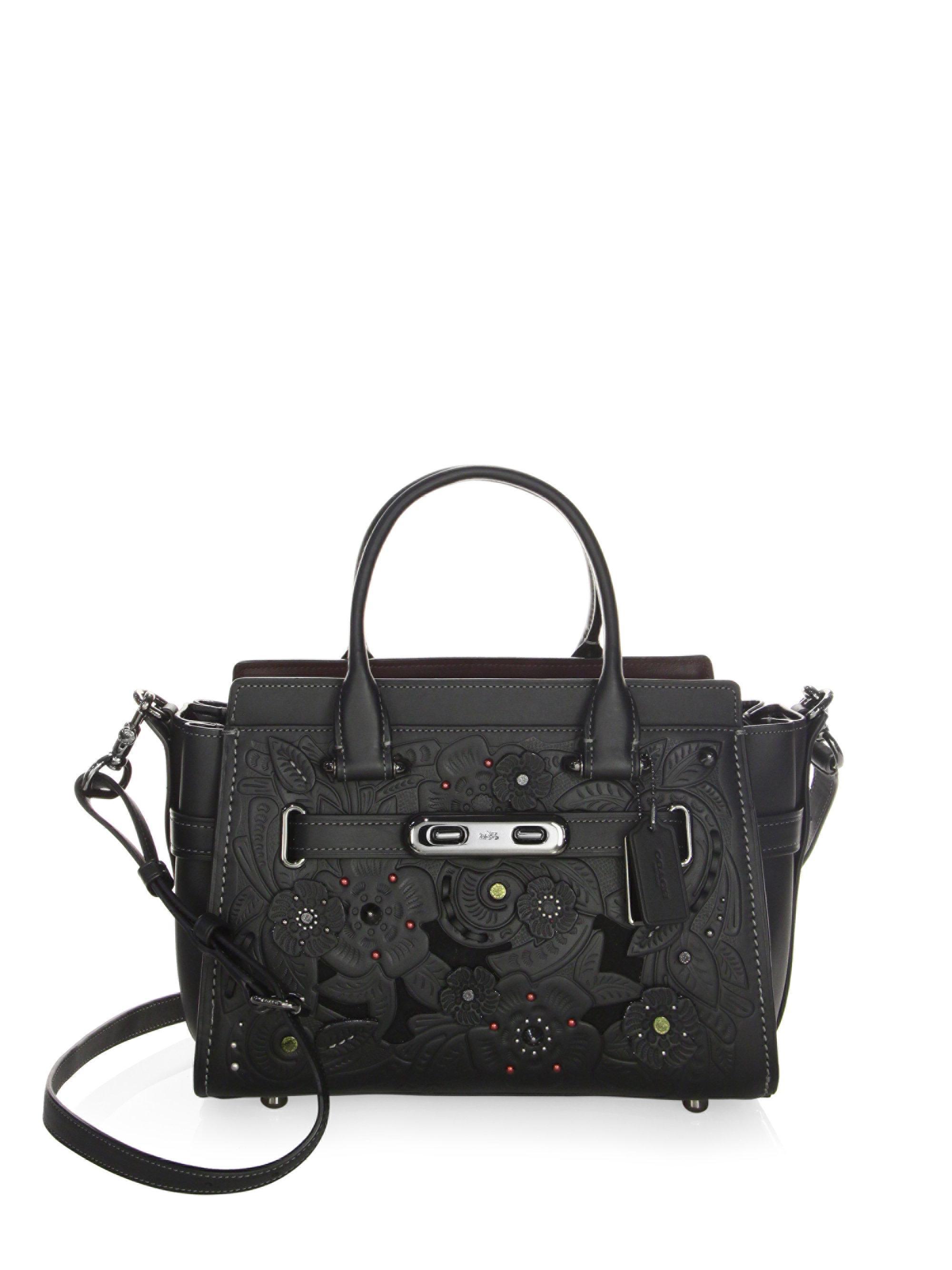 Lyst Coach Flower Leather Satchel In Black