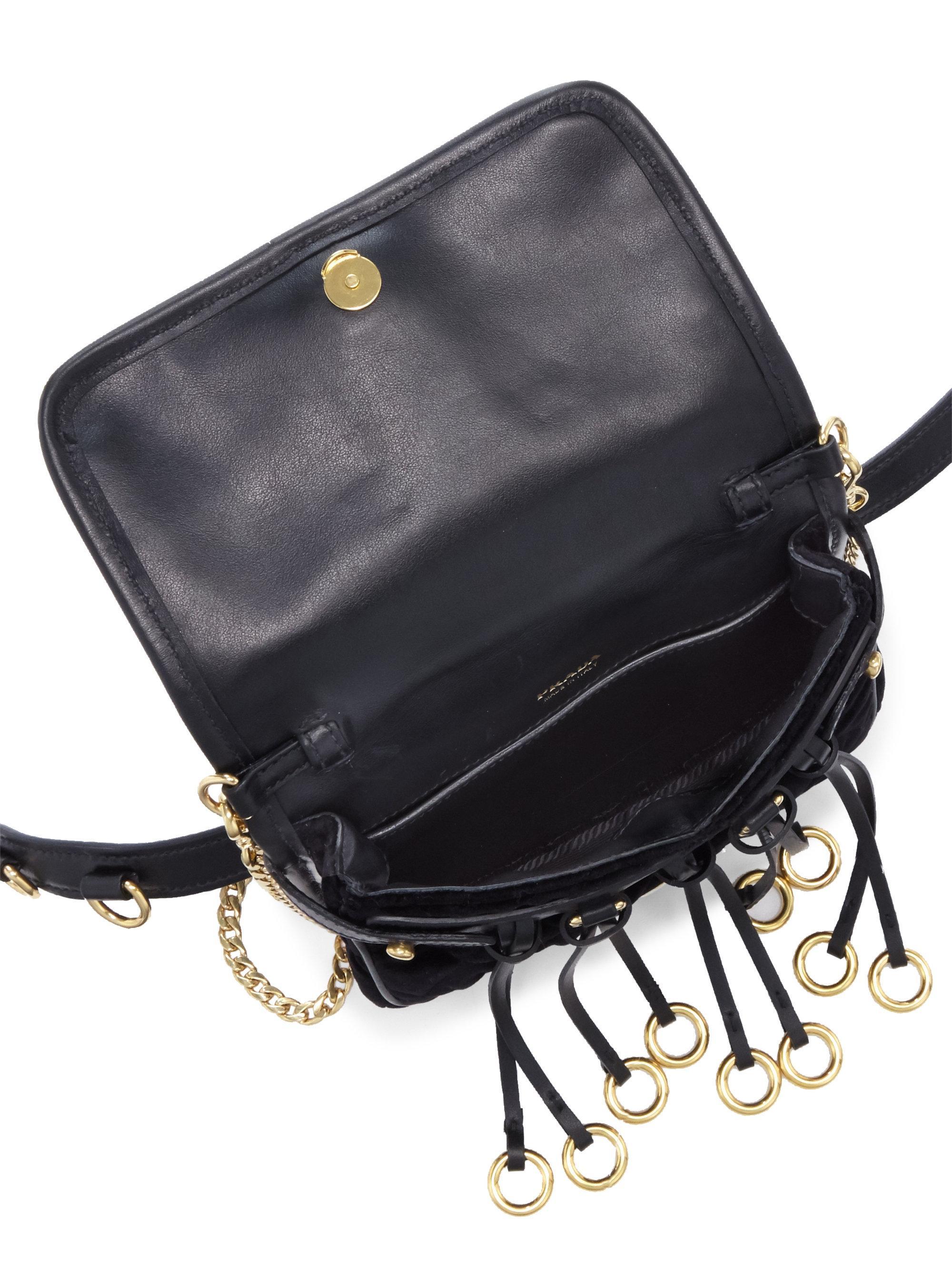 b8e6dfaf3da0 Prada Floral-embroidered Velvet Belt Bag in Black - Lyst