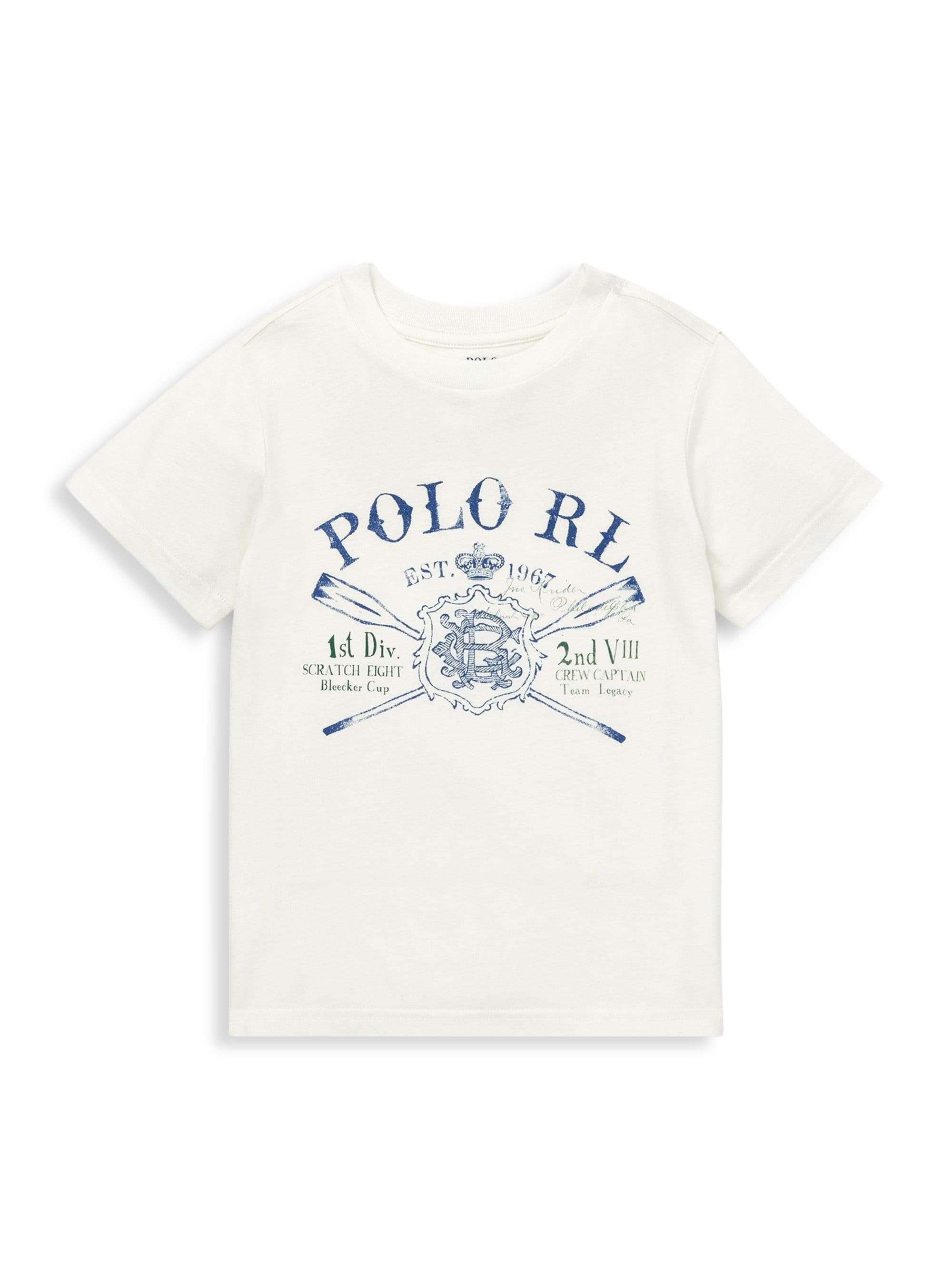 54c21e7bd Lyst - Ralph Lauren Little Boy s Graphic Cotton Jersey Tee in White ...