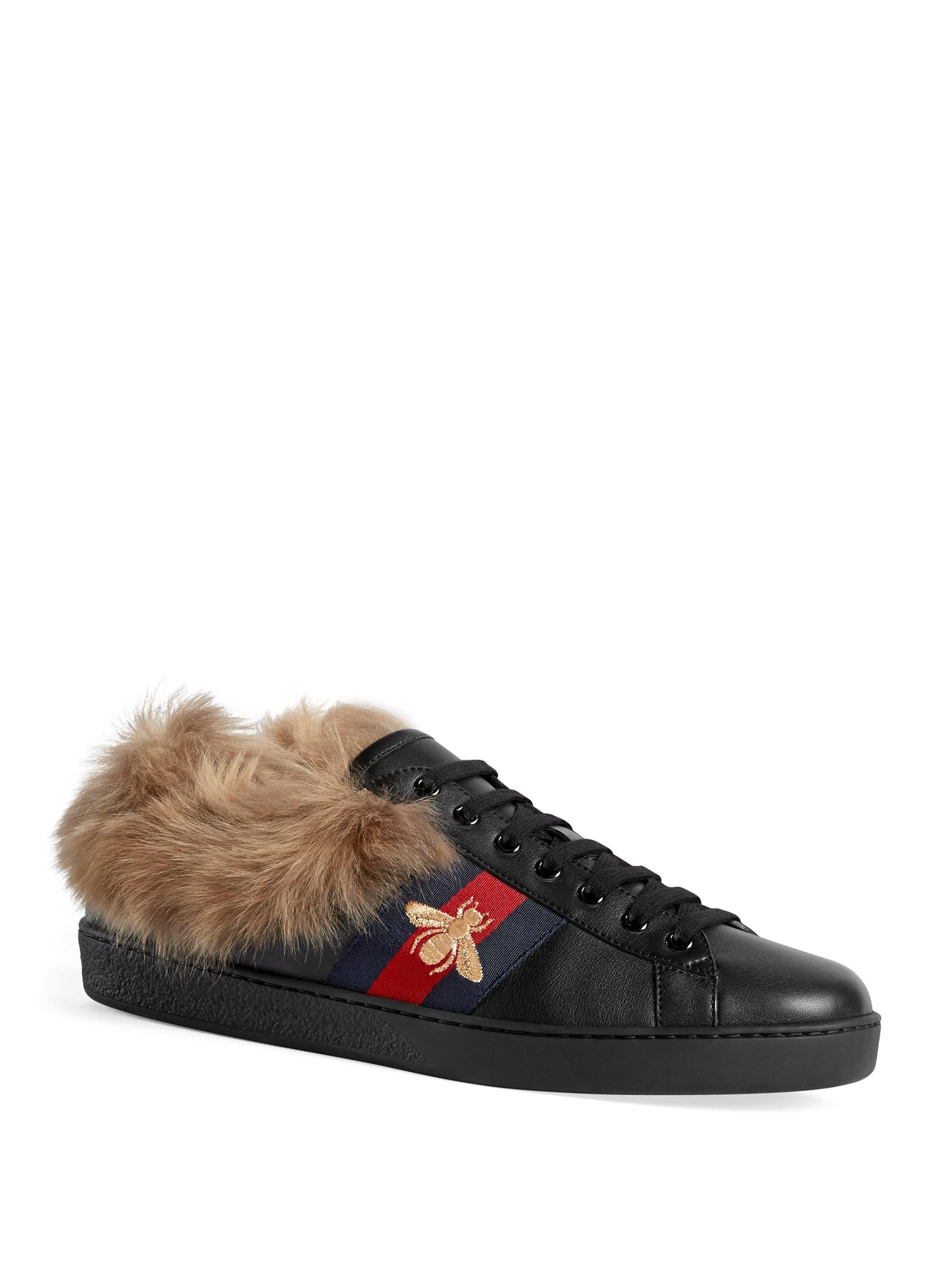 abdd3d95097f Gucci Men s New Ace Sneaker With Fur - White in Black for Men - Lyst