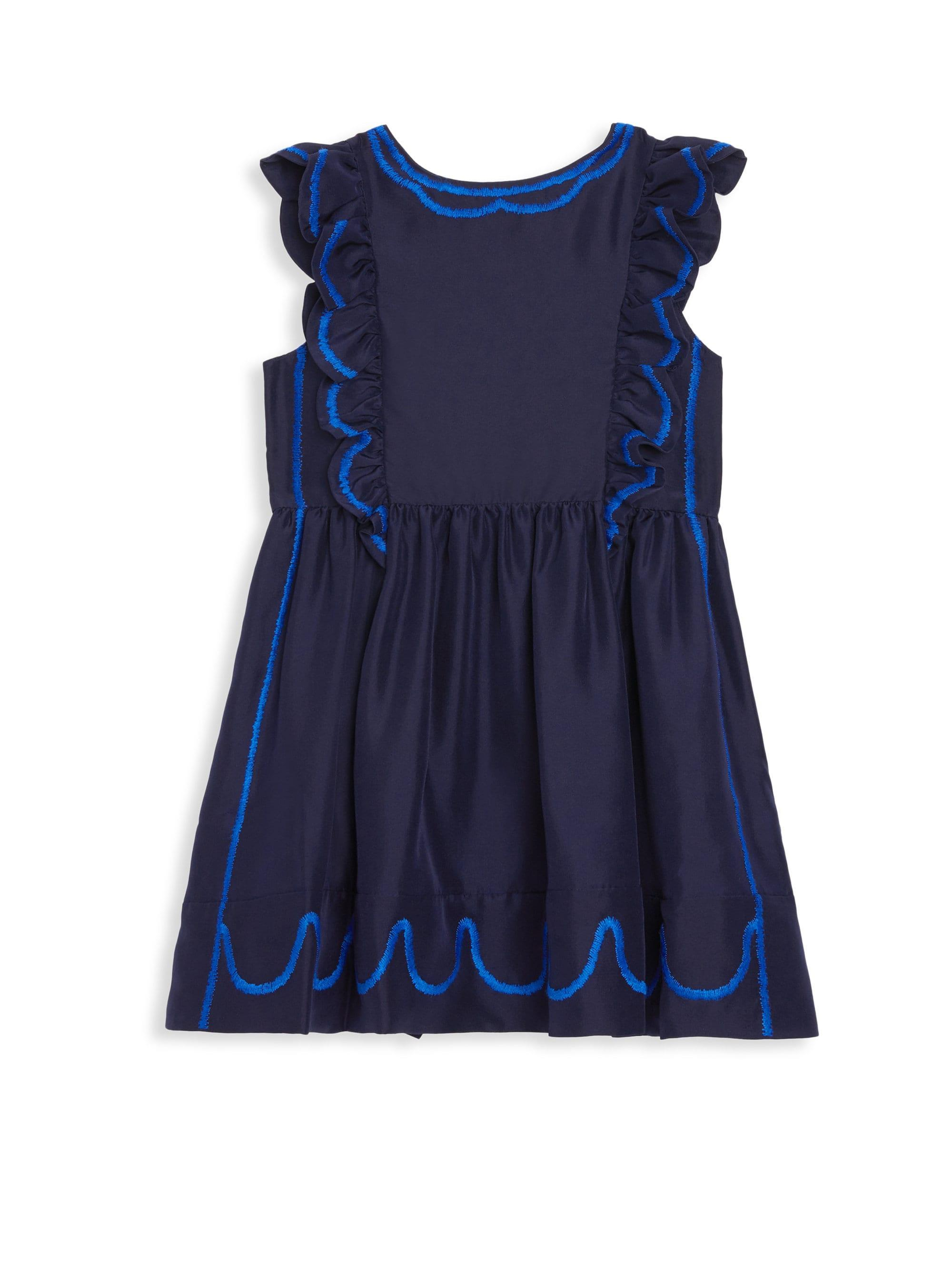 73ad31f27e07 Lyst - Burberry Little Girl's & Girl's Silk Pinafore Dress in Blue
