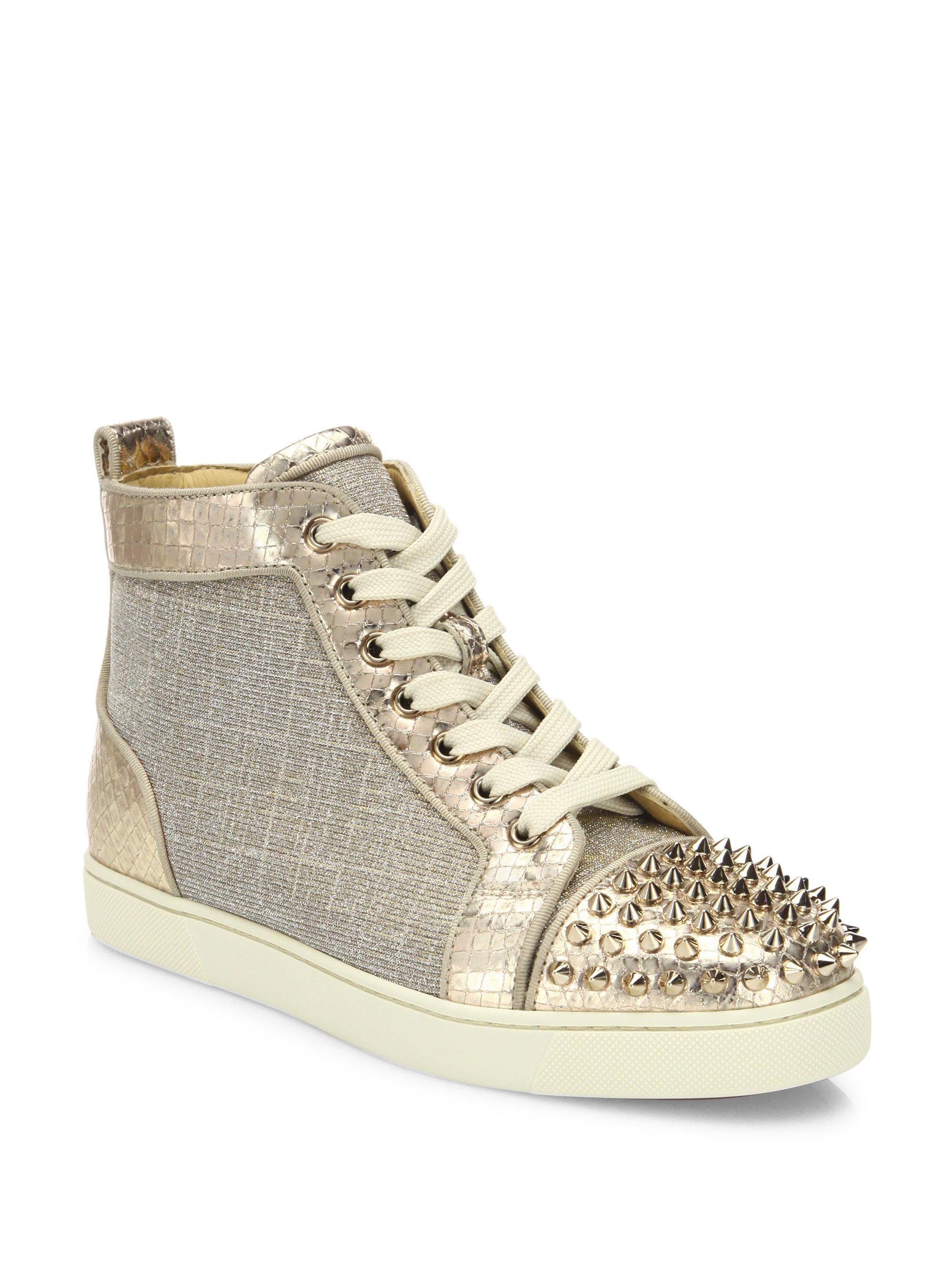 Lyst - Christian Louboutin Lou Spikes Metallic High-top Sneakers ca2ae3e18