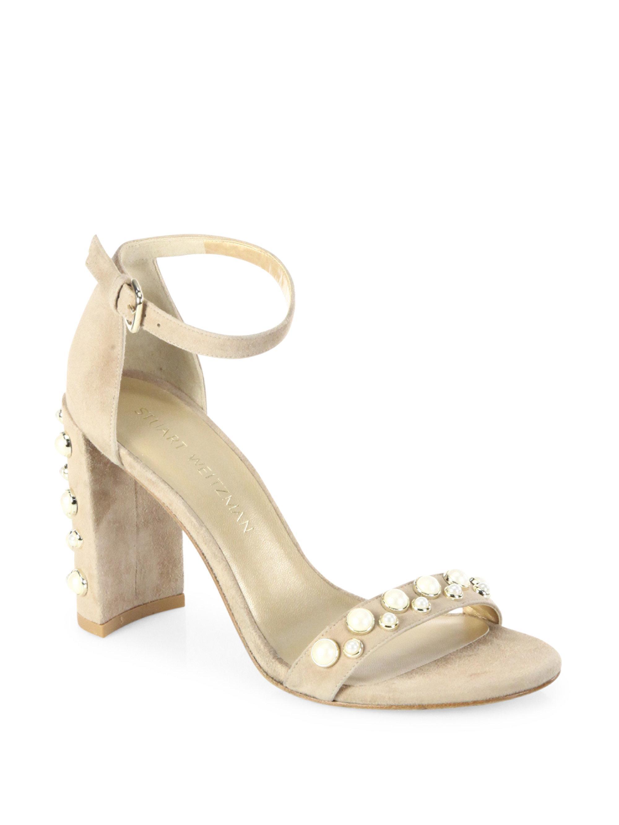 2d33030462fa Lyst - Stuart Weitzman Morepearls Studded Suede Block Heel Sandals ...