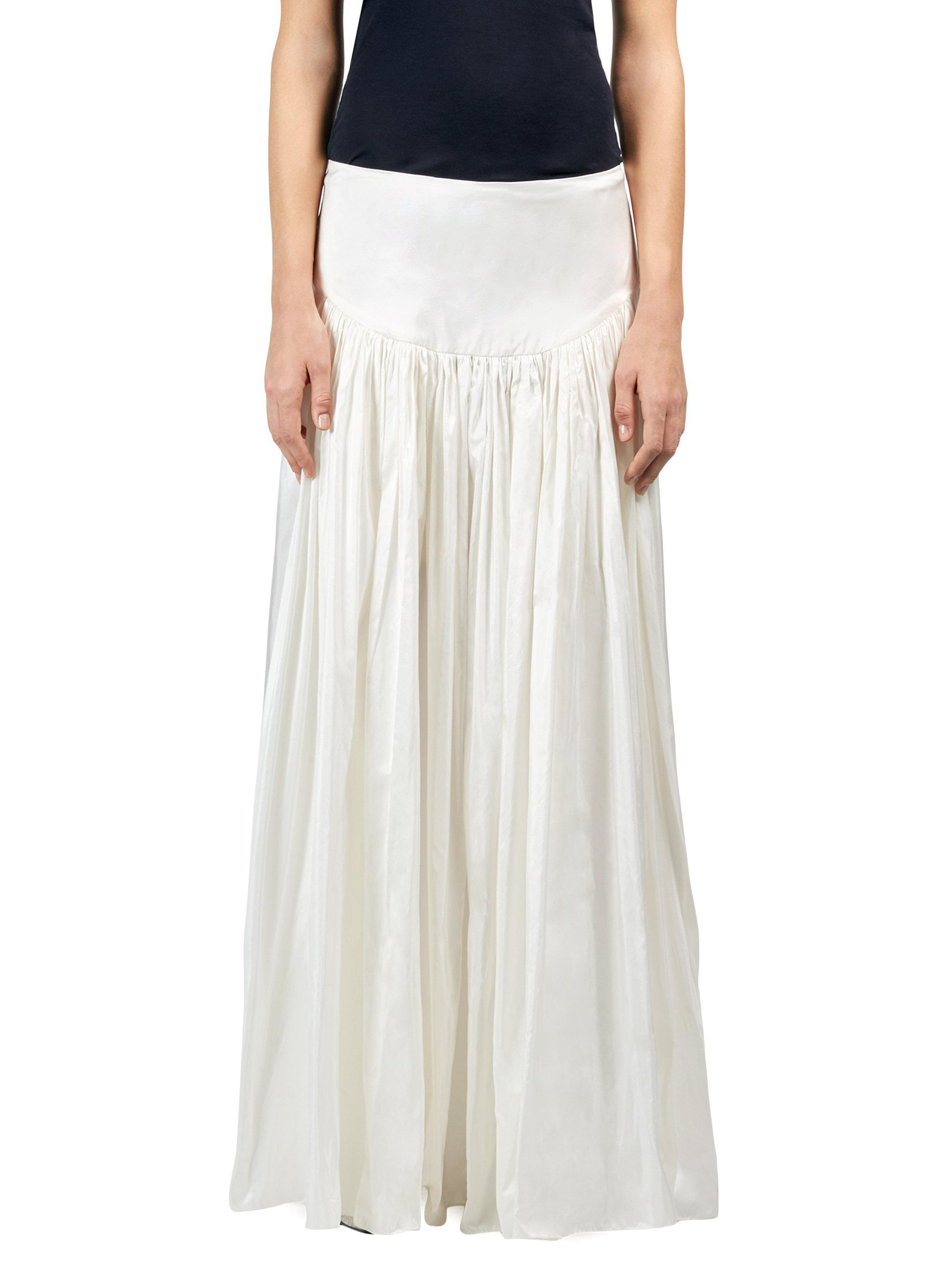 b11bb598ad2 Stella McCartney Taffeta Drop-waist Maxi Skirt in White - Lyst