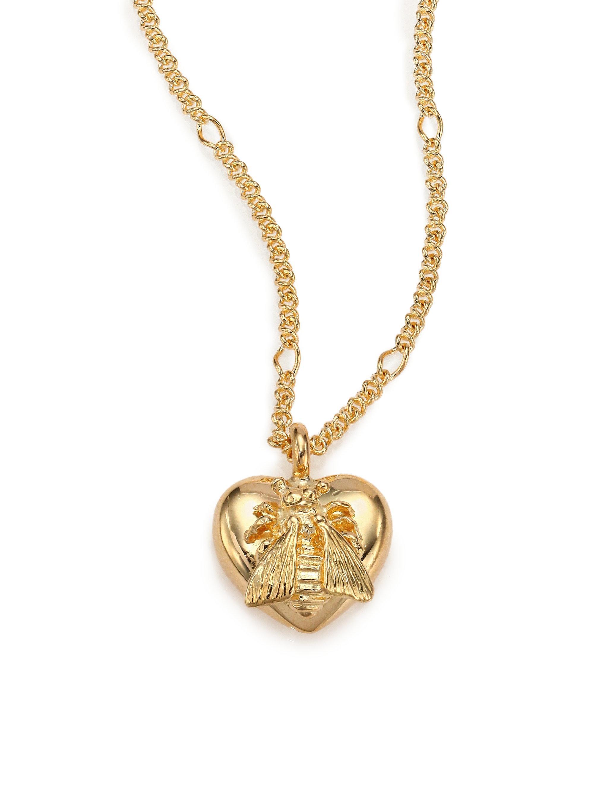 97d95c95609de Gucci Metallic 18k Yellow Gold Bee Heart Pendant Necklace