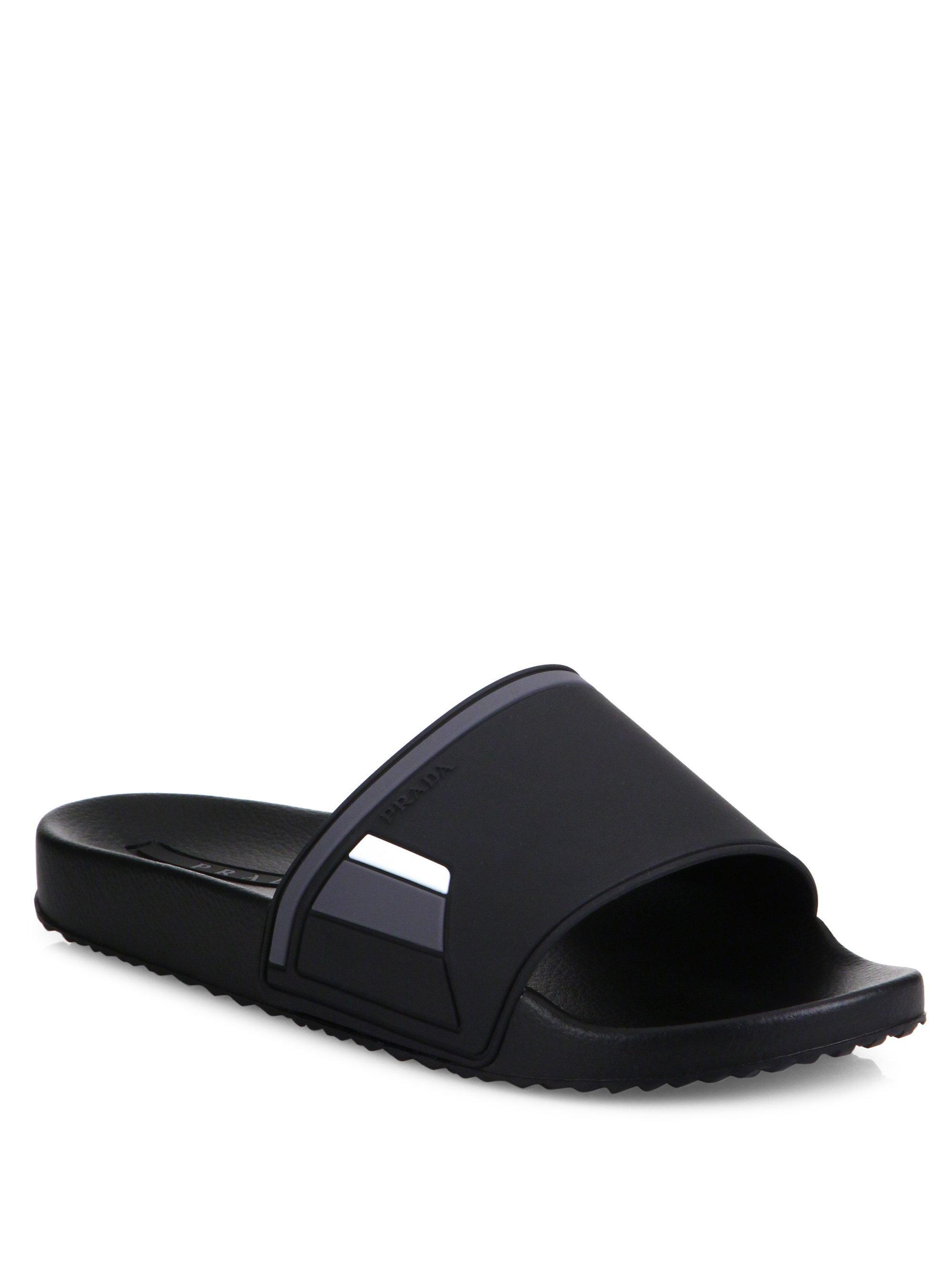 a216e6192ccc Gucci Slides Saks Fifth. Prada Shower Slide Sandals in Black for Men