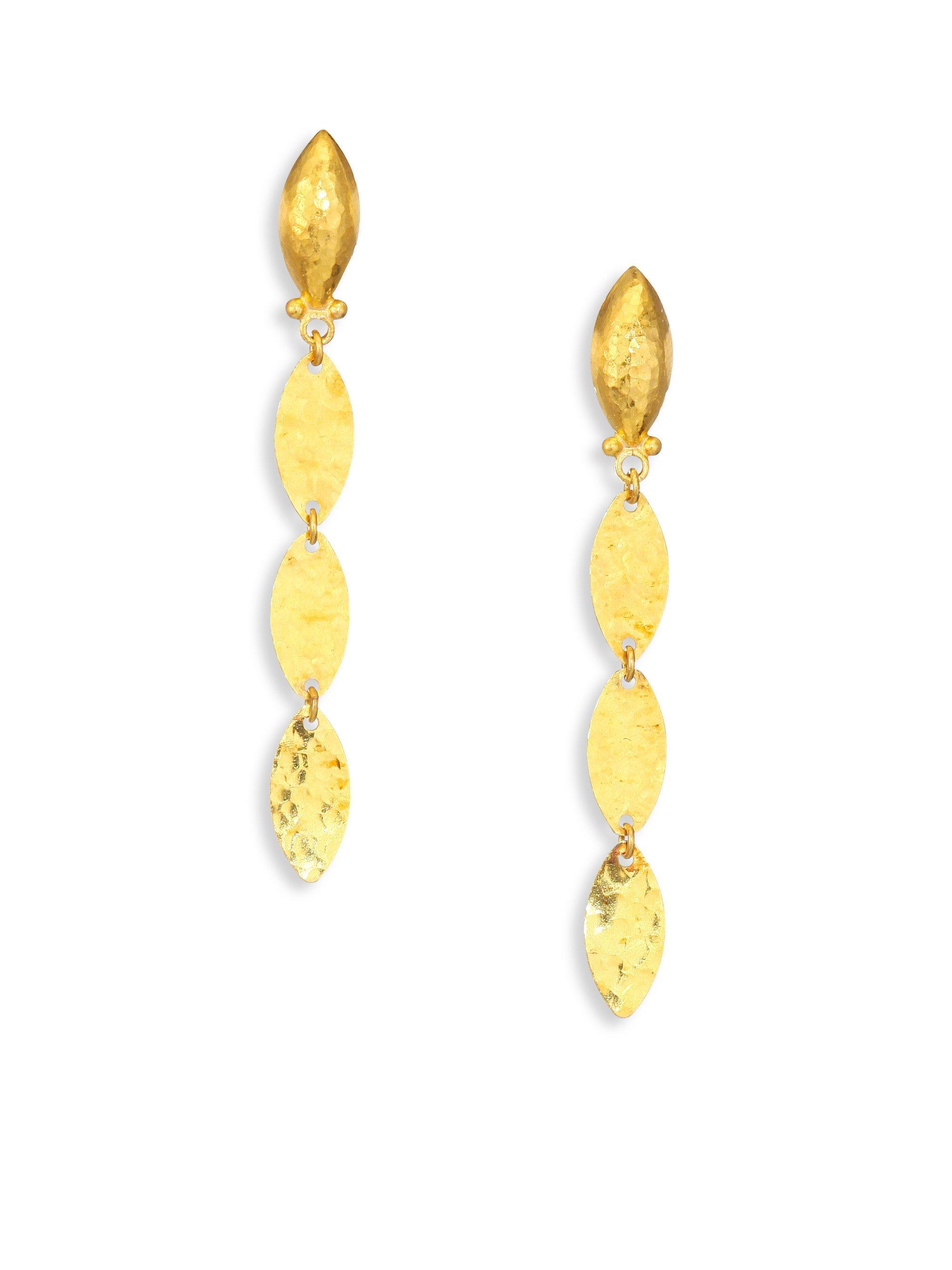Gurhan 24k Willow Bloom Linear Drop Earrings w/ Topaz ZGeARQwX1V