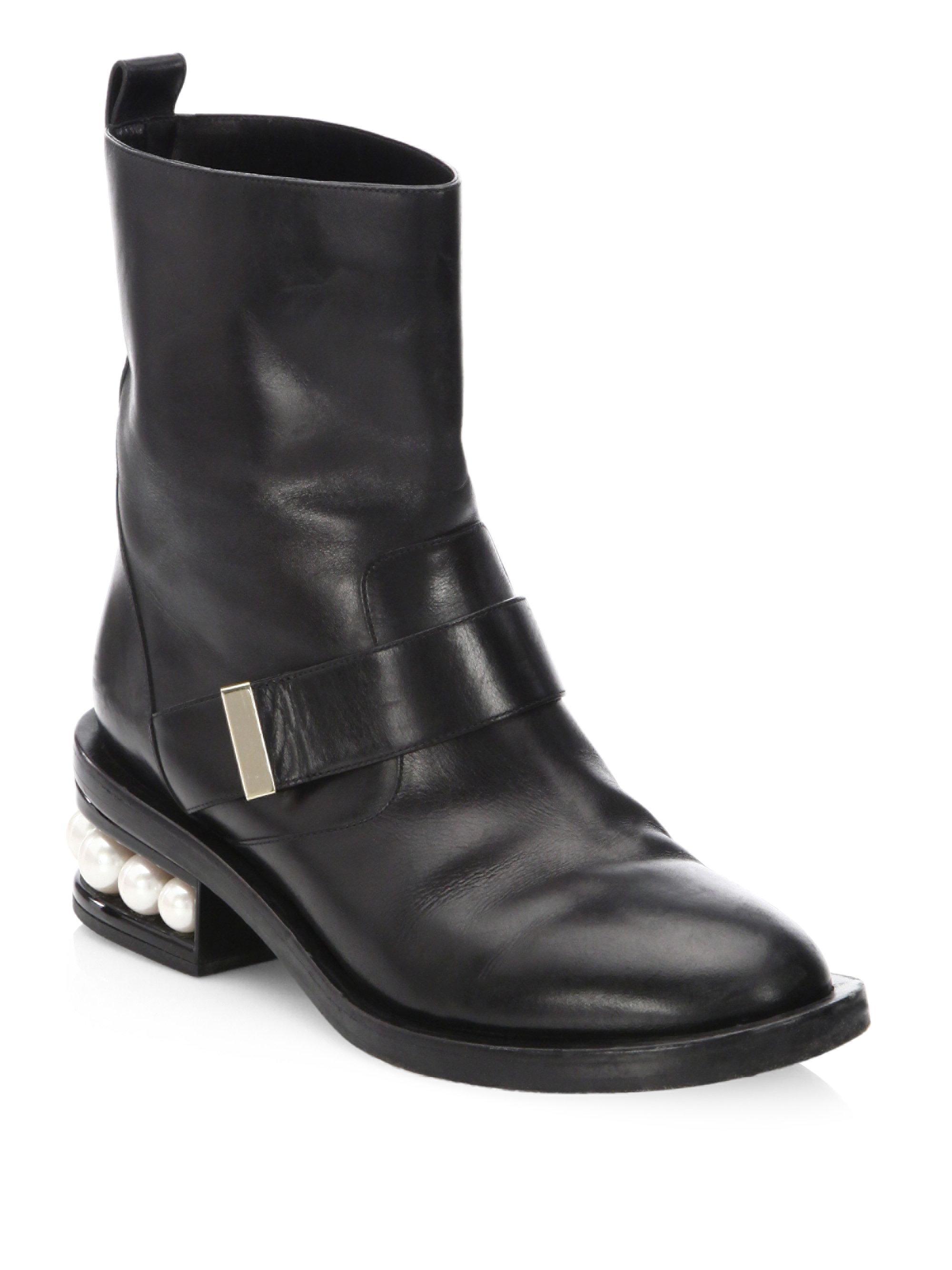52615812ec67 Nicholas Kirkwood Casati Pearl Leather Biker Boots in Black - Lyst