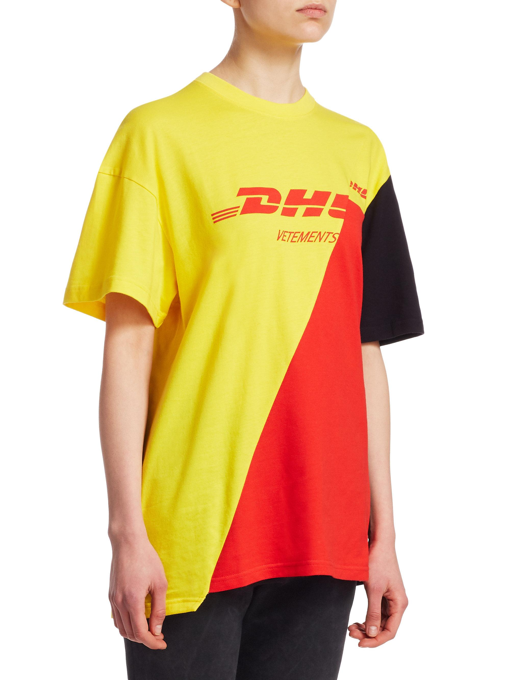 x DHL Cutup Tee in Black,Red,Yellow VETEMENTS