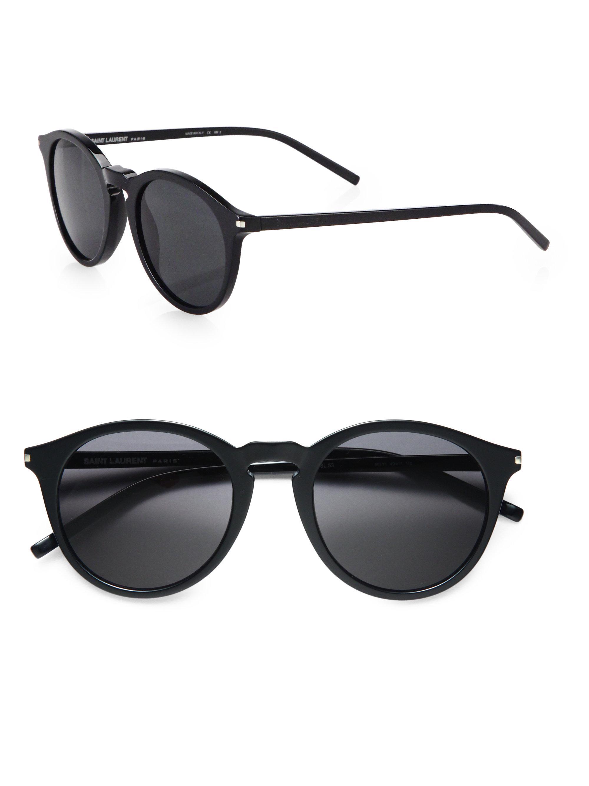 5d0b5aea4e Lyst - Saint laurent Acetate Round Sunglasses in Black for Men