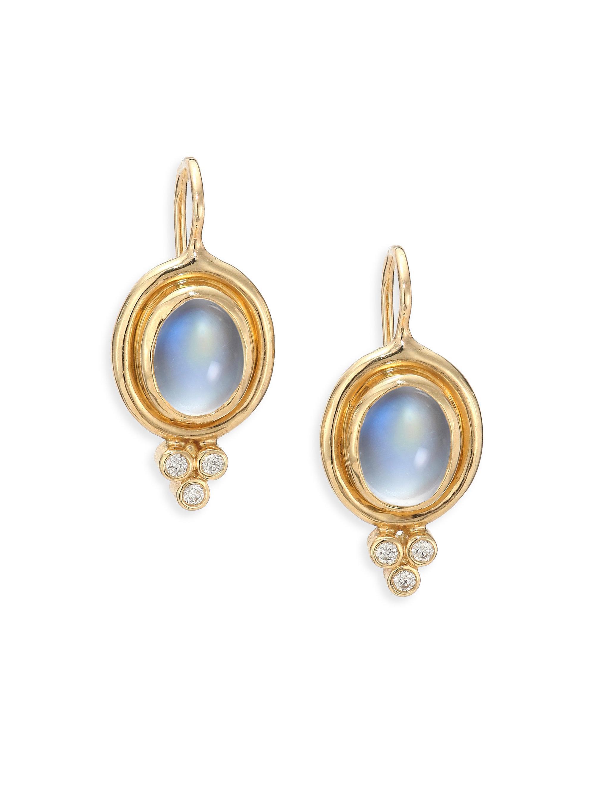 Women's Royal Blue Moonstone, Diamond & 18k Yellow Gold Drop Earrings