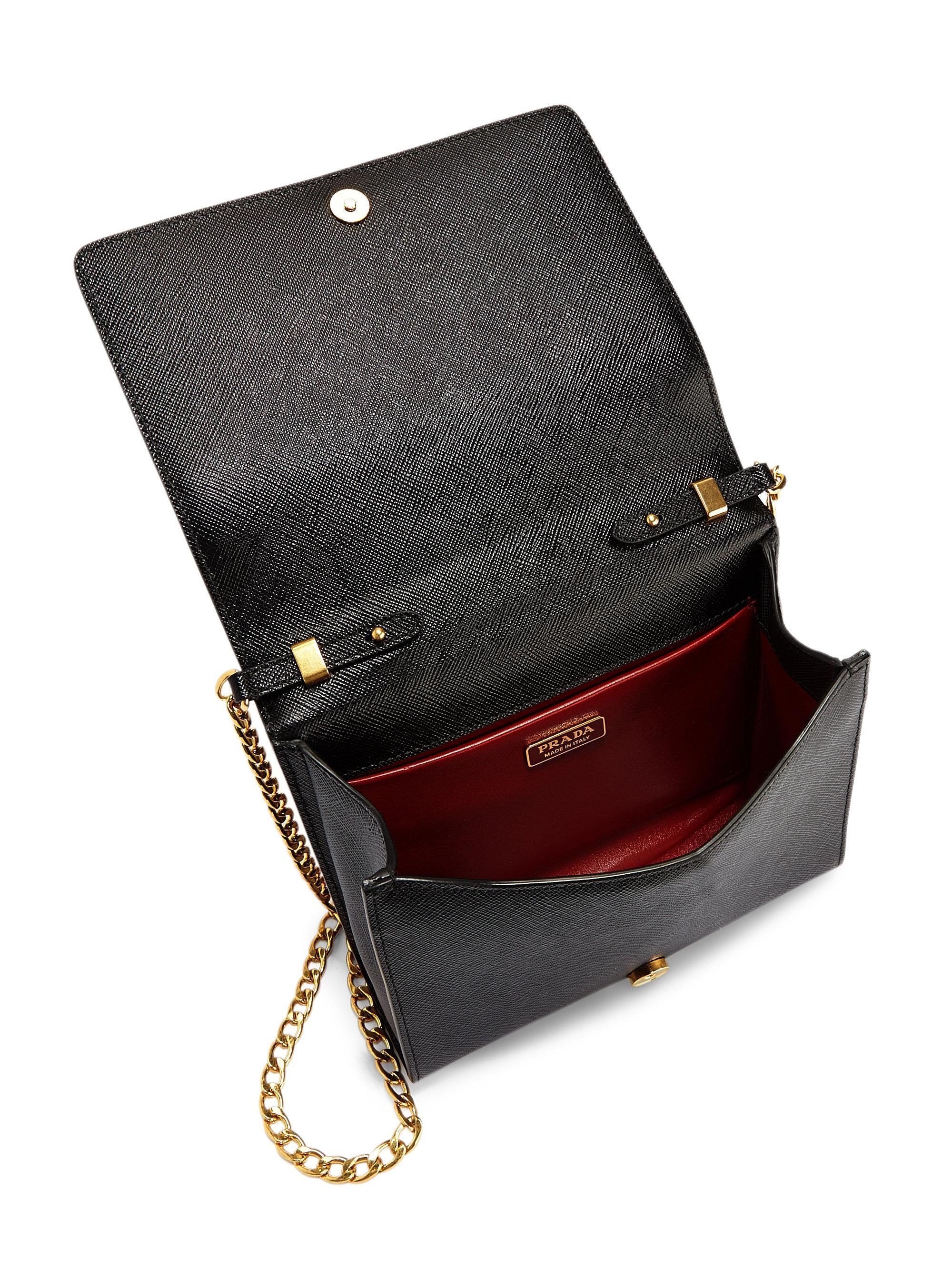 76dcb853905 Prada Saffiano Lux Chain Wallet in Black - Lyst