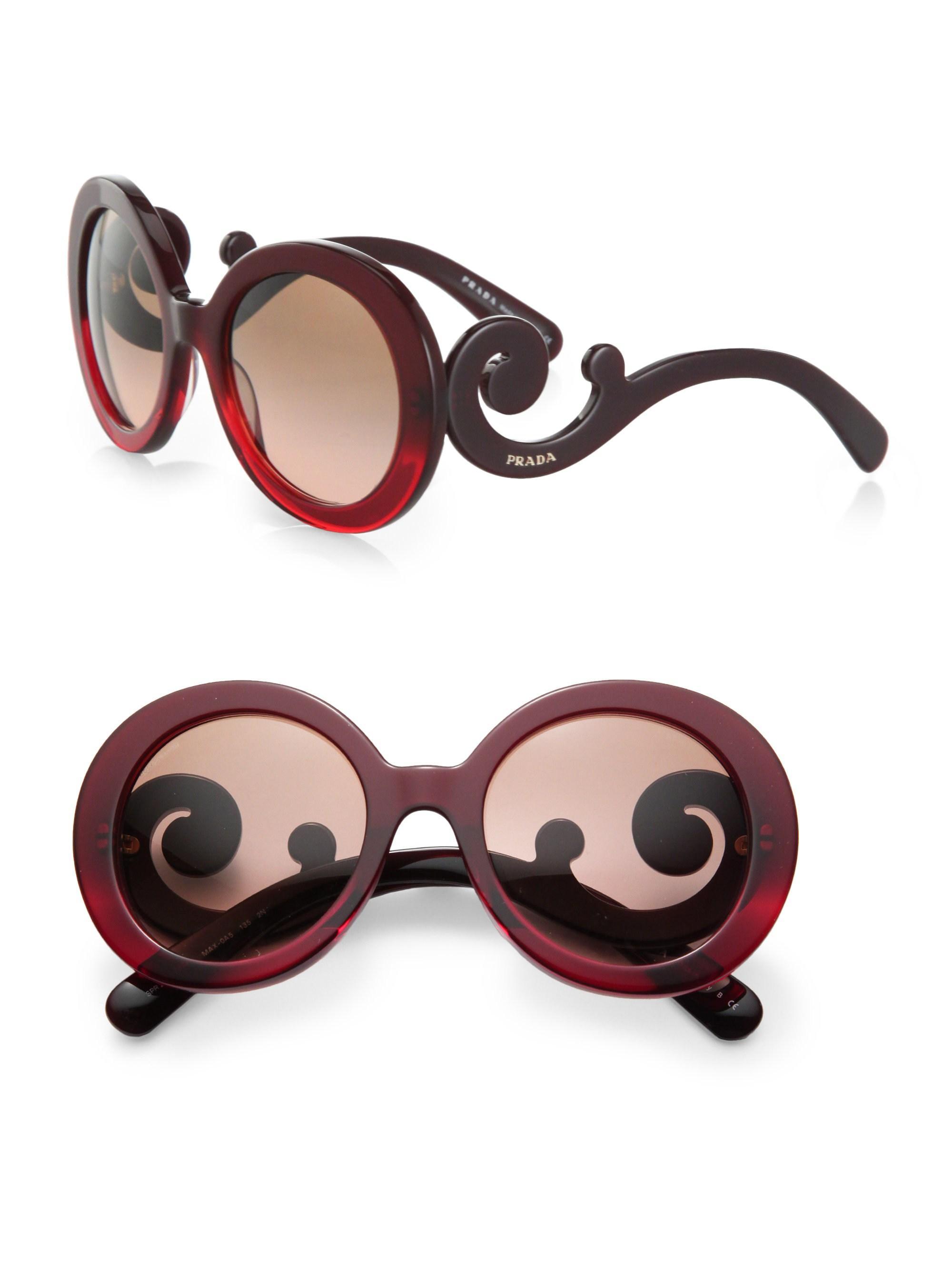 0446b6b88 Lyst - Prada Oversized Baroque Round Sunglasses in Red