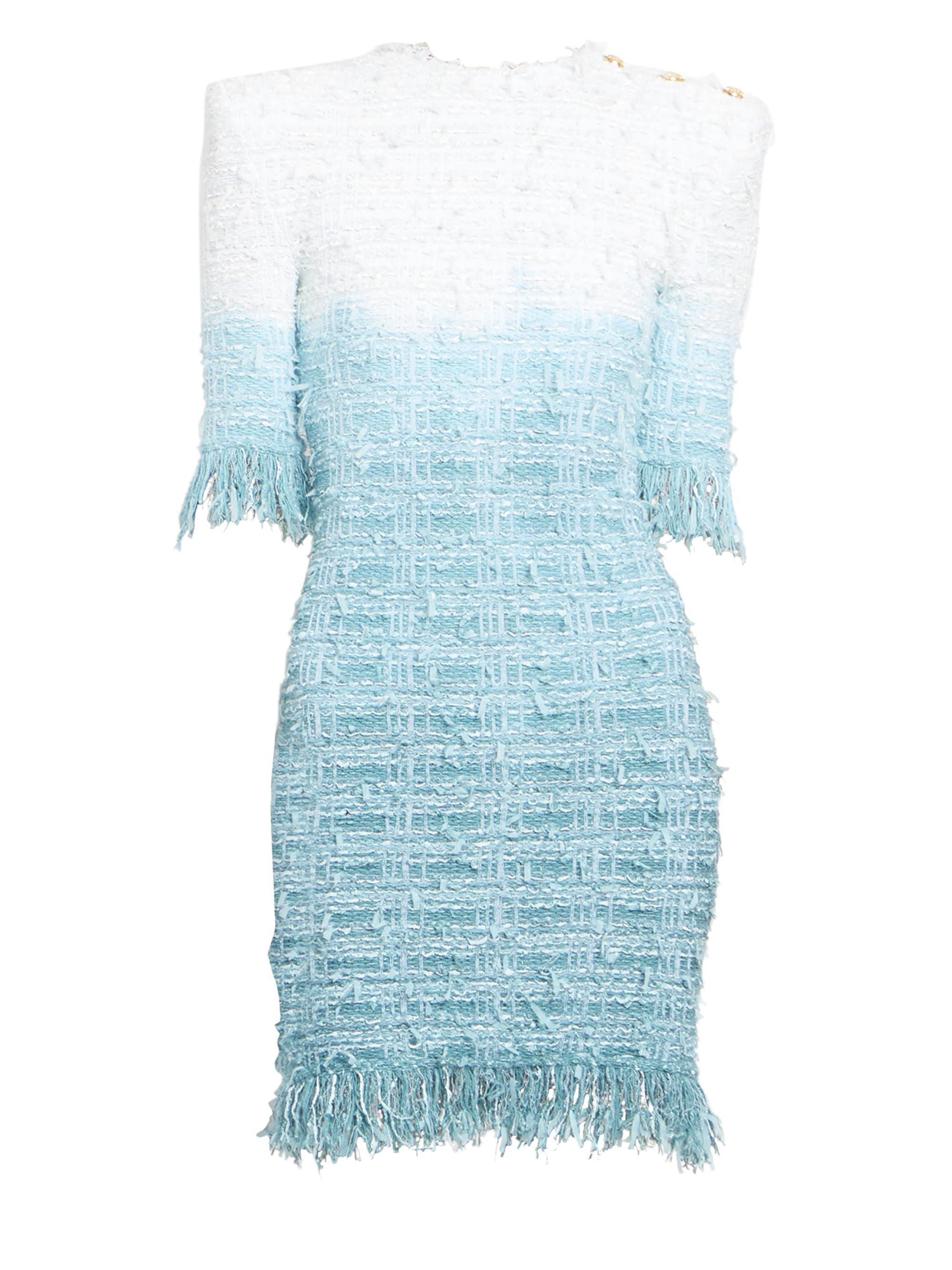 b615ebff Lyst - Balmain Women's Fringed Tie-dye Tweed Dress - Turquoise White ...