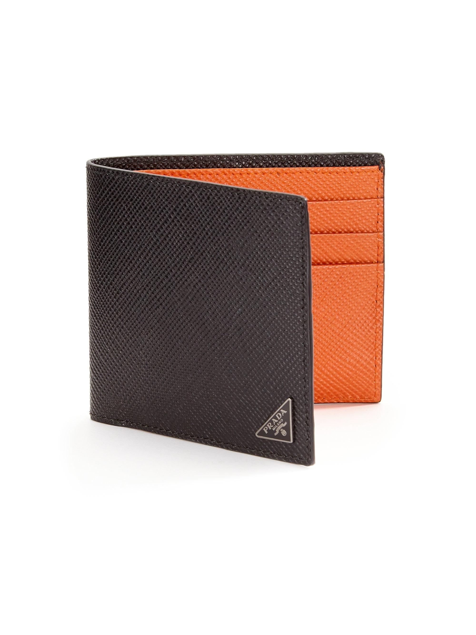 93e35125eb8857 Prada Orizzontale Wallet in Orange for Men - Lyst