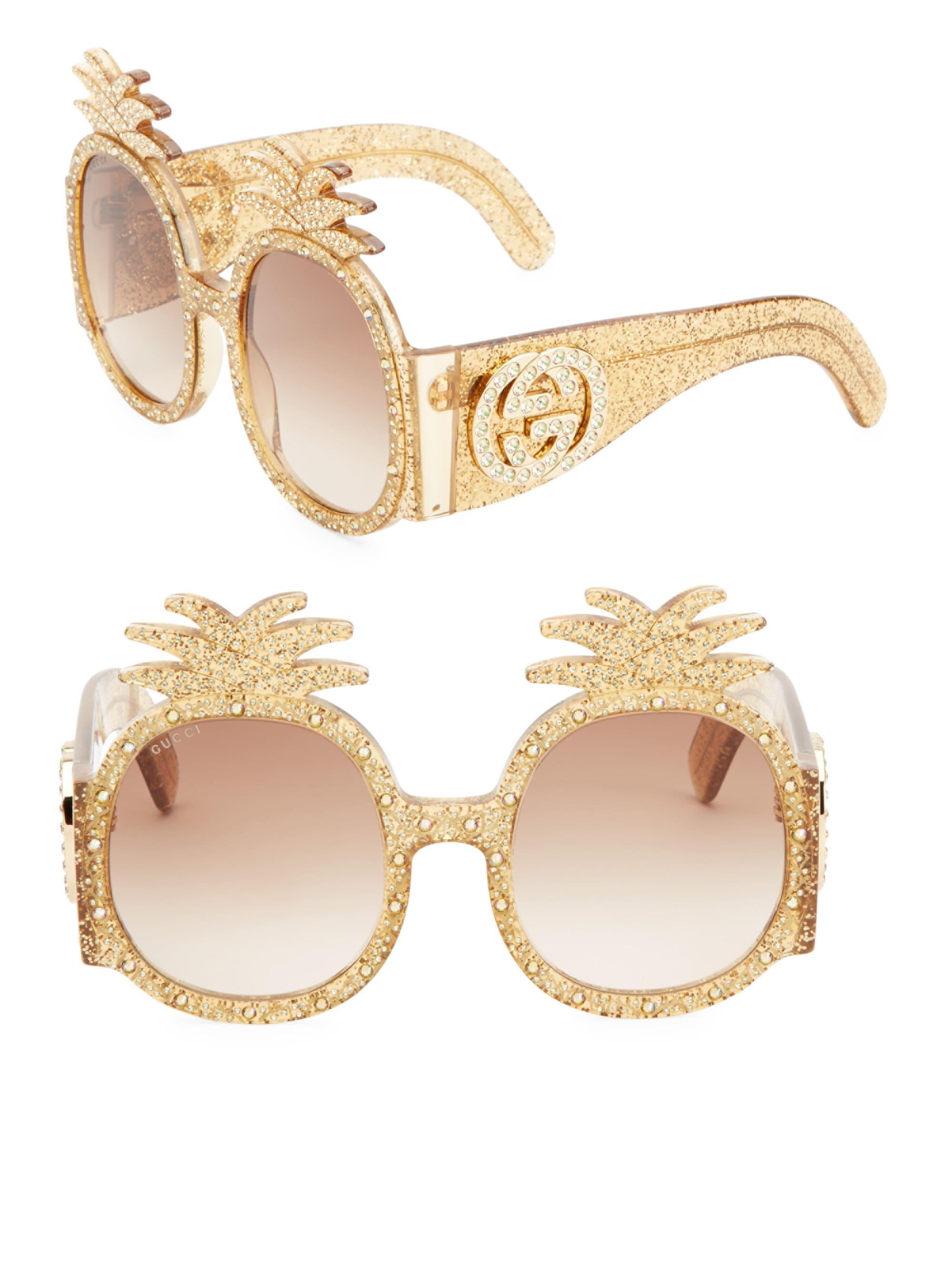 eb56d19c63f Lyst - Gucci Women s 53mm Pineapple Sunglasses - Gold in Metallic