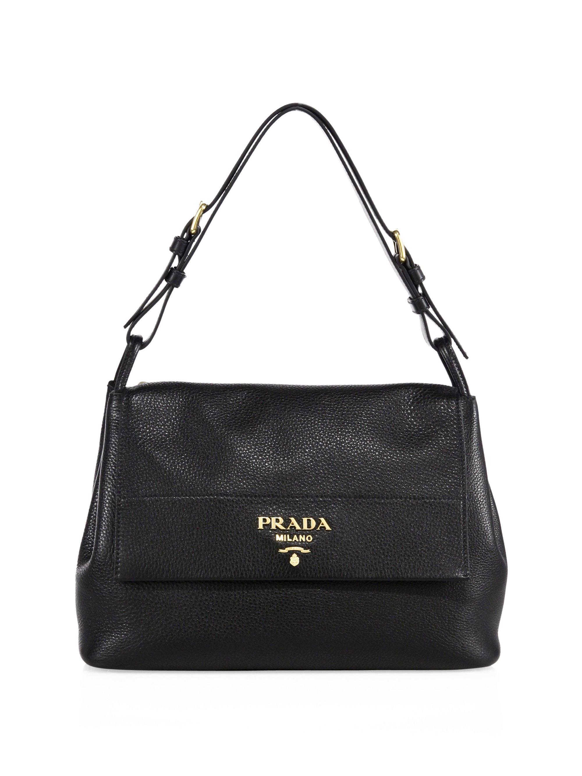 313b599e7a33 Lyst - Prada Daino Leather Flap Shoulder Bag in Black