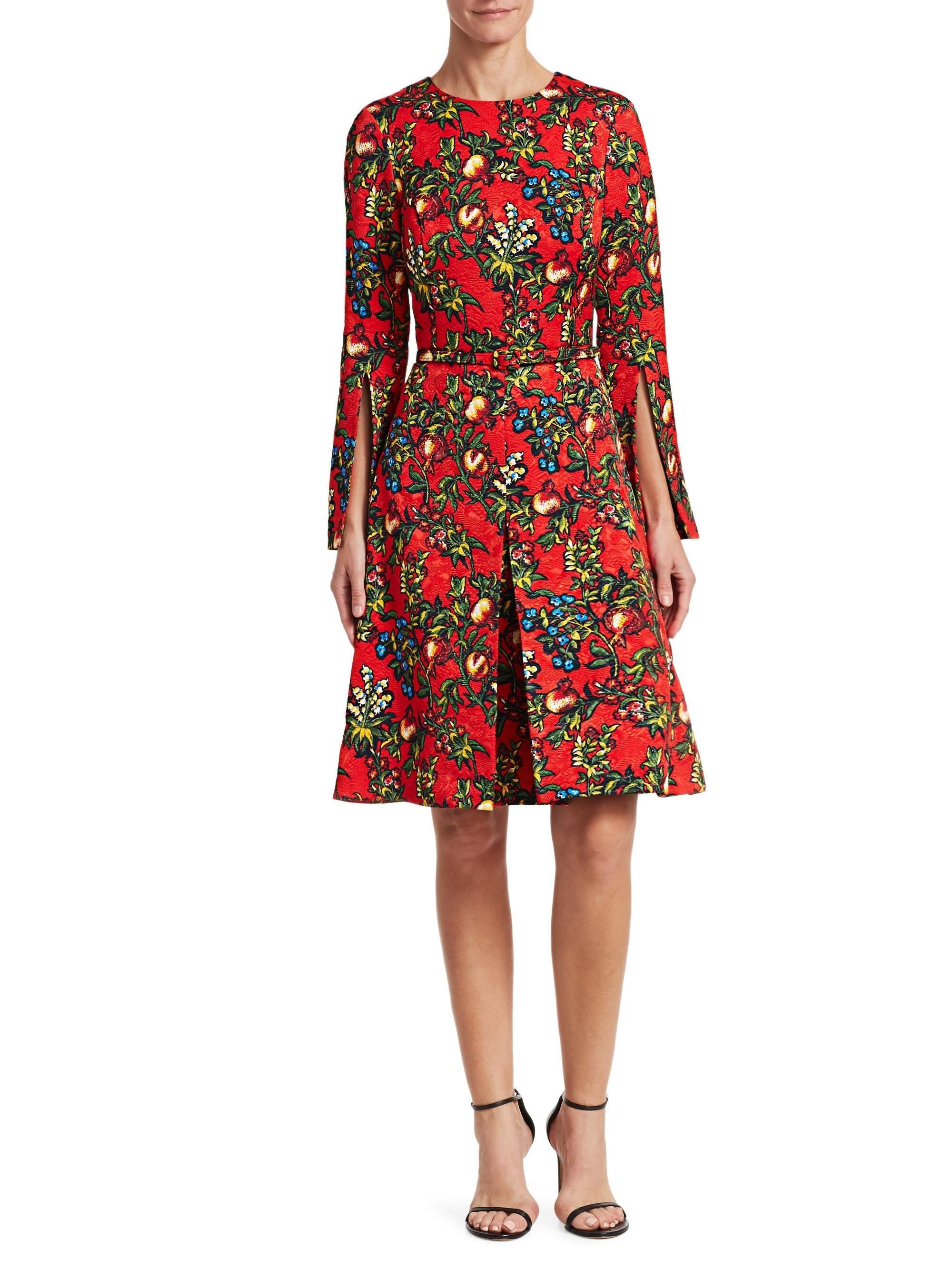 f381fb8c2516 Oscar de la Renta Pomegranate Jacquard A-line Dress in Black - Lyst