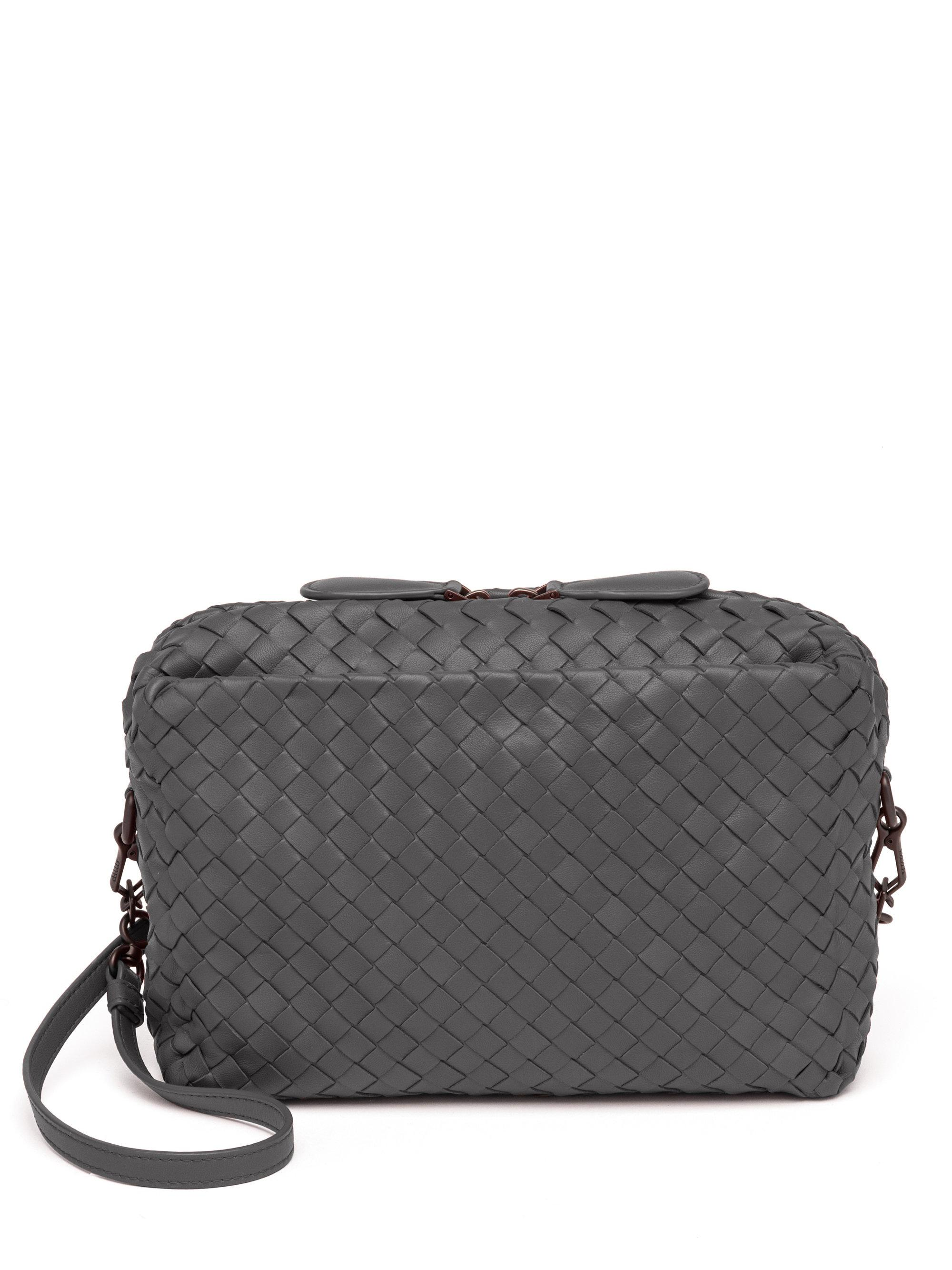 3a3194f2c650 Bottega Veneta Pillow Intrecciato Leather Crossbody Bag in Gray - Lyst