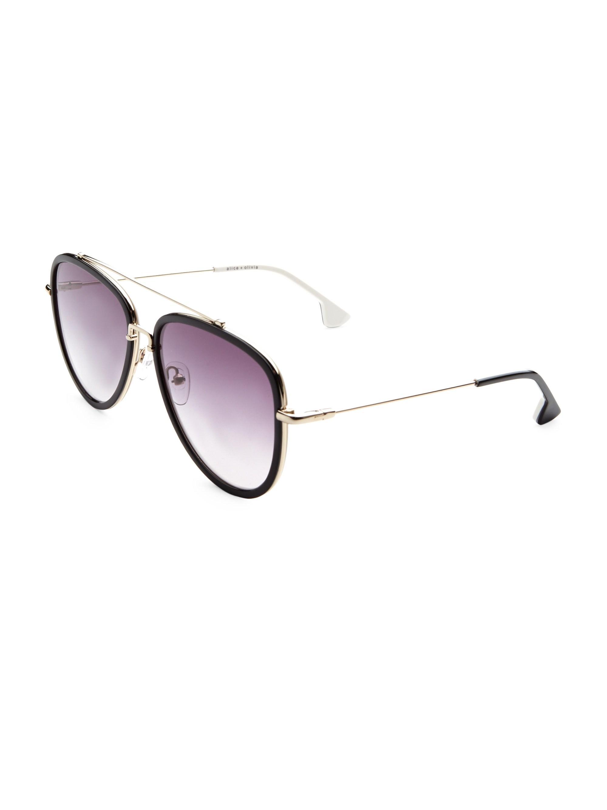 7662bd9928 Alice + Olivia Lincoln Black Aviator Sunglasses in Black - Lyst
