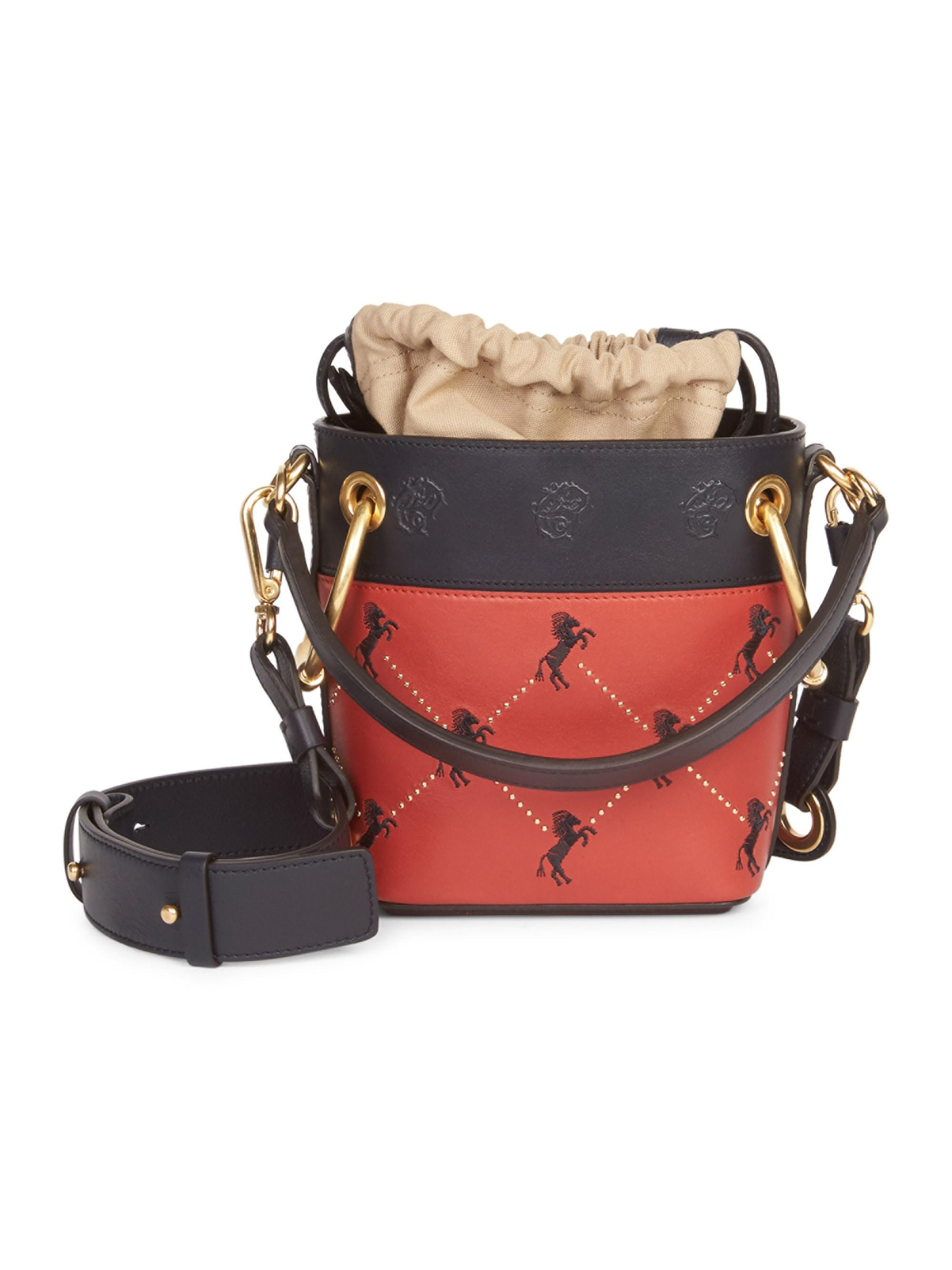 cdebd7577a19 Lyst - Chloé Women s Mini Little Horses Embroidered Leather Bucket Bag