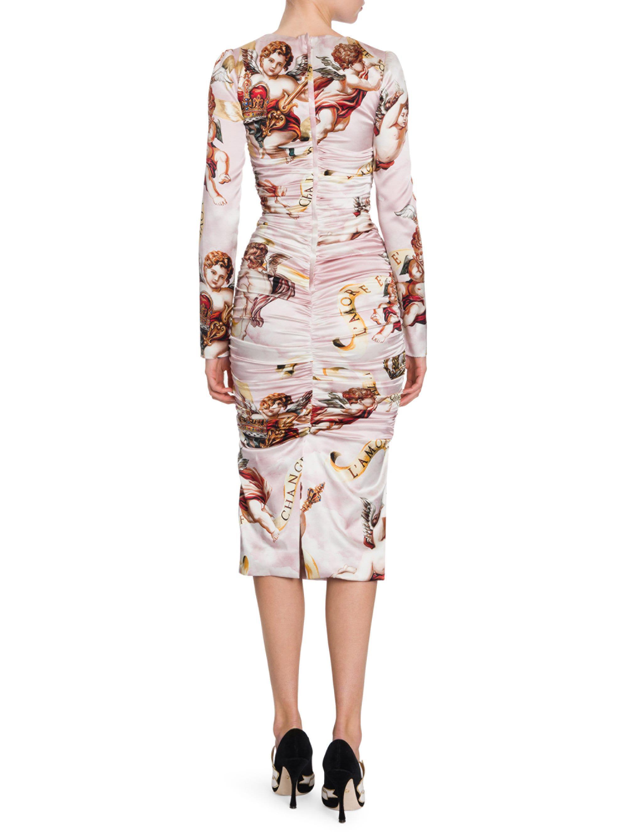 90a7dacb5f90 Dolce & Gabbana Cherub Print Satin Bodycon Dress in Pink - Lyst