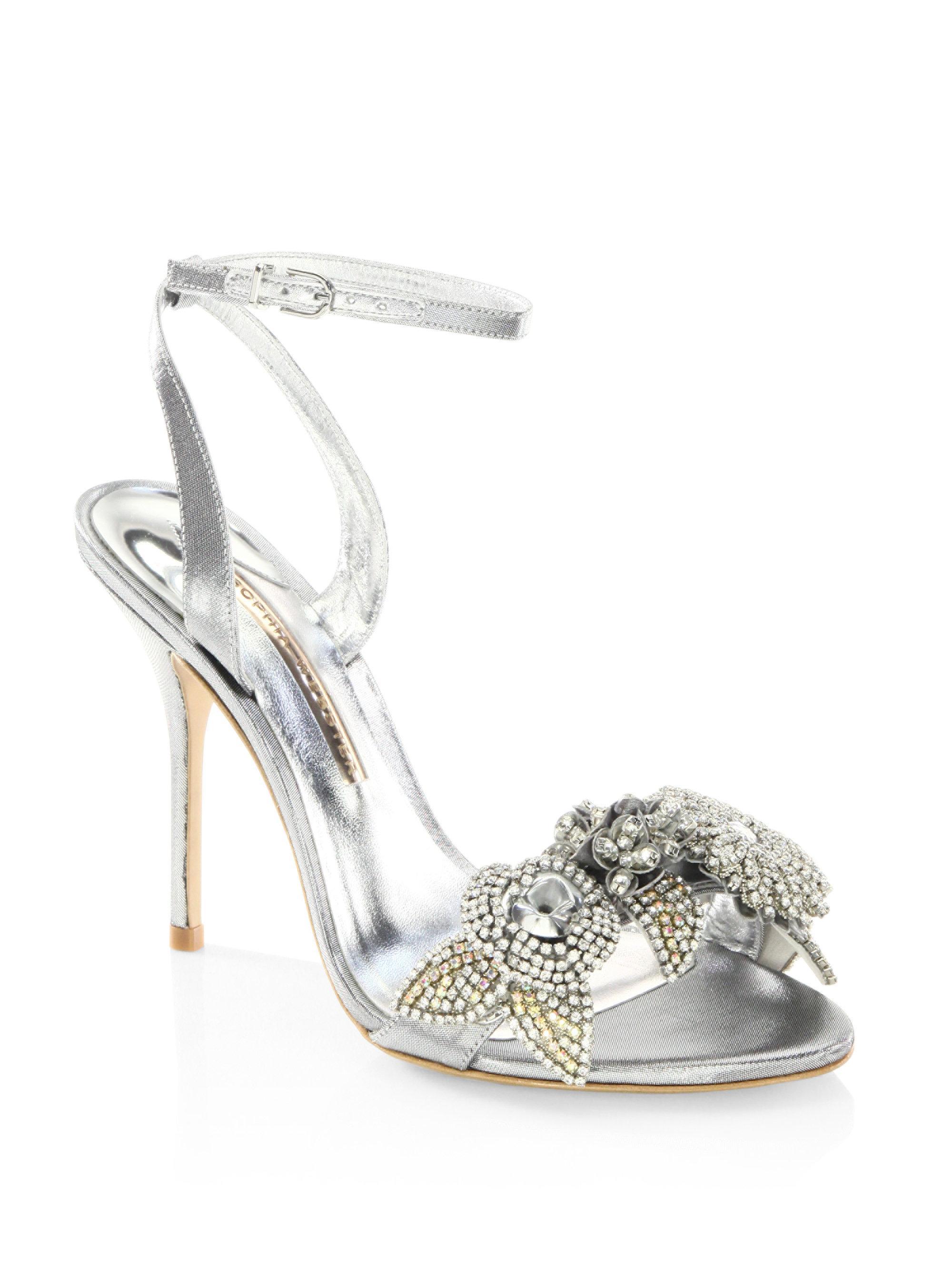 b70af6628a0 Sophia Webster Lilico Crystal-embellished Metallic Ankle-strap Sandals