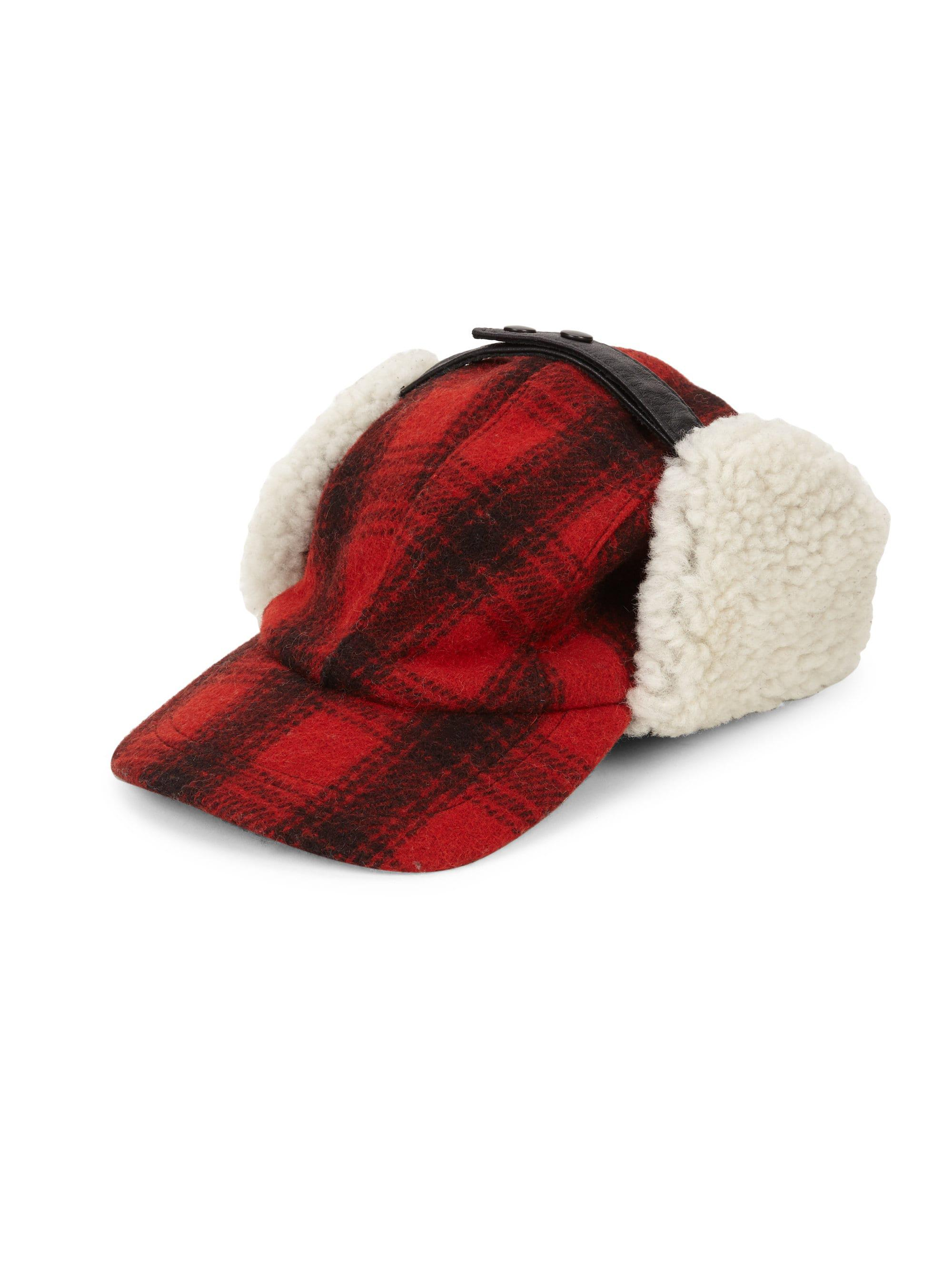 f65652232f4b48 Crown Cap Men's Plaid & Shearling Fur Trapper Hat - Red - Size ...