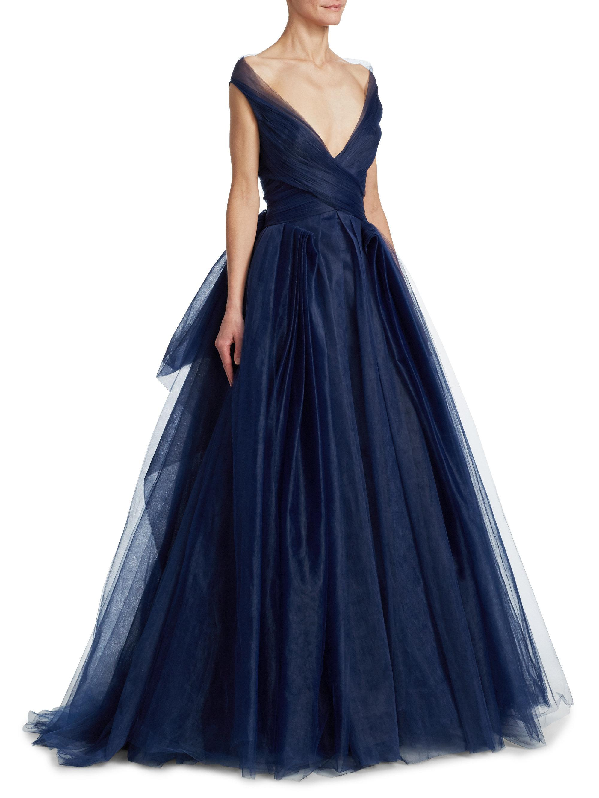 Zac Posen Convertible Tulle Ball Gown in Blue - Lyst