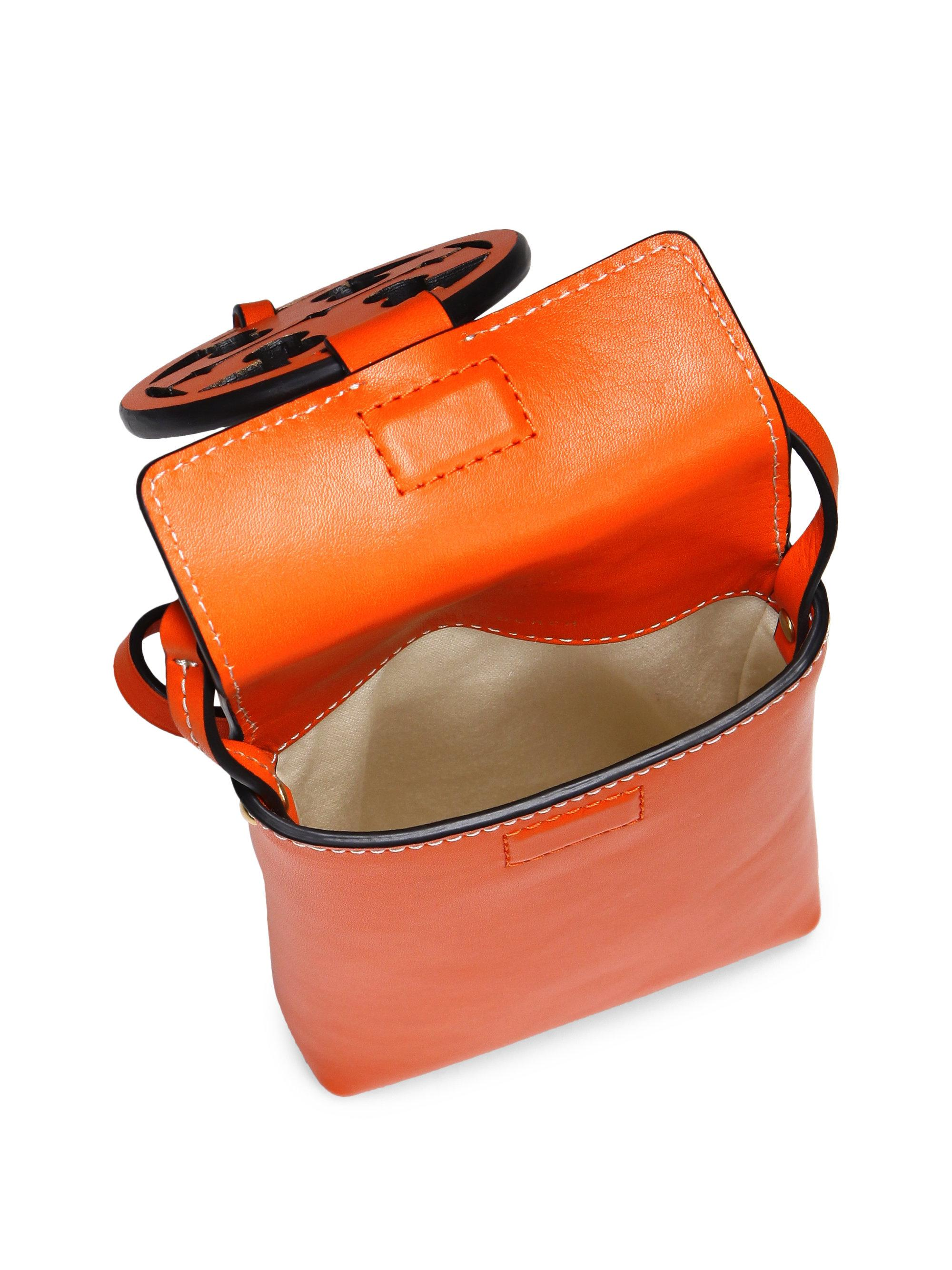 big sale 0313b b1d9b Tory Burch Orange Miller Leather Crossbody Phone Case