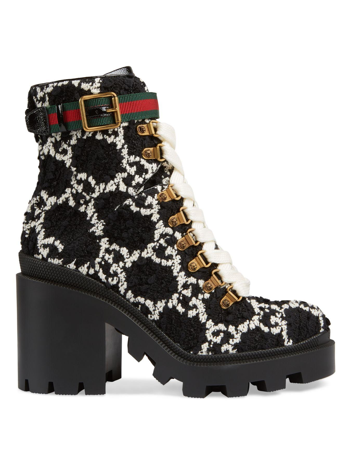 Gucci GG Tweed Ankle Boots in Nero