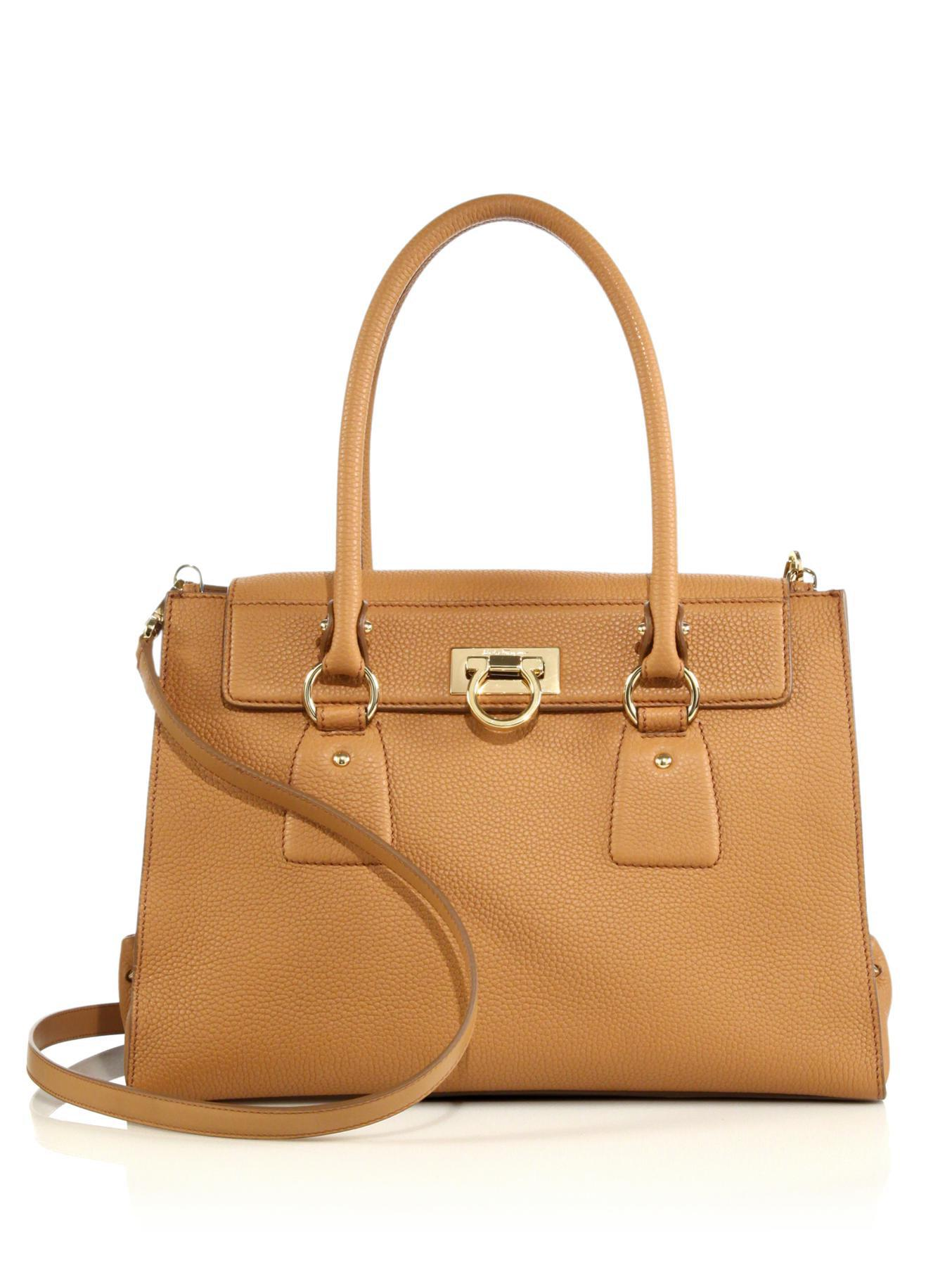 0f242b093e7 Lyst - Ferragamo Lotty Medium Satchel in Natural