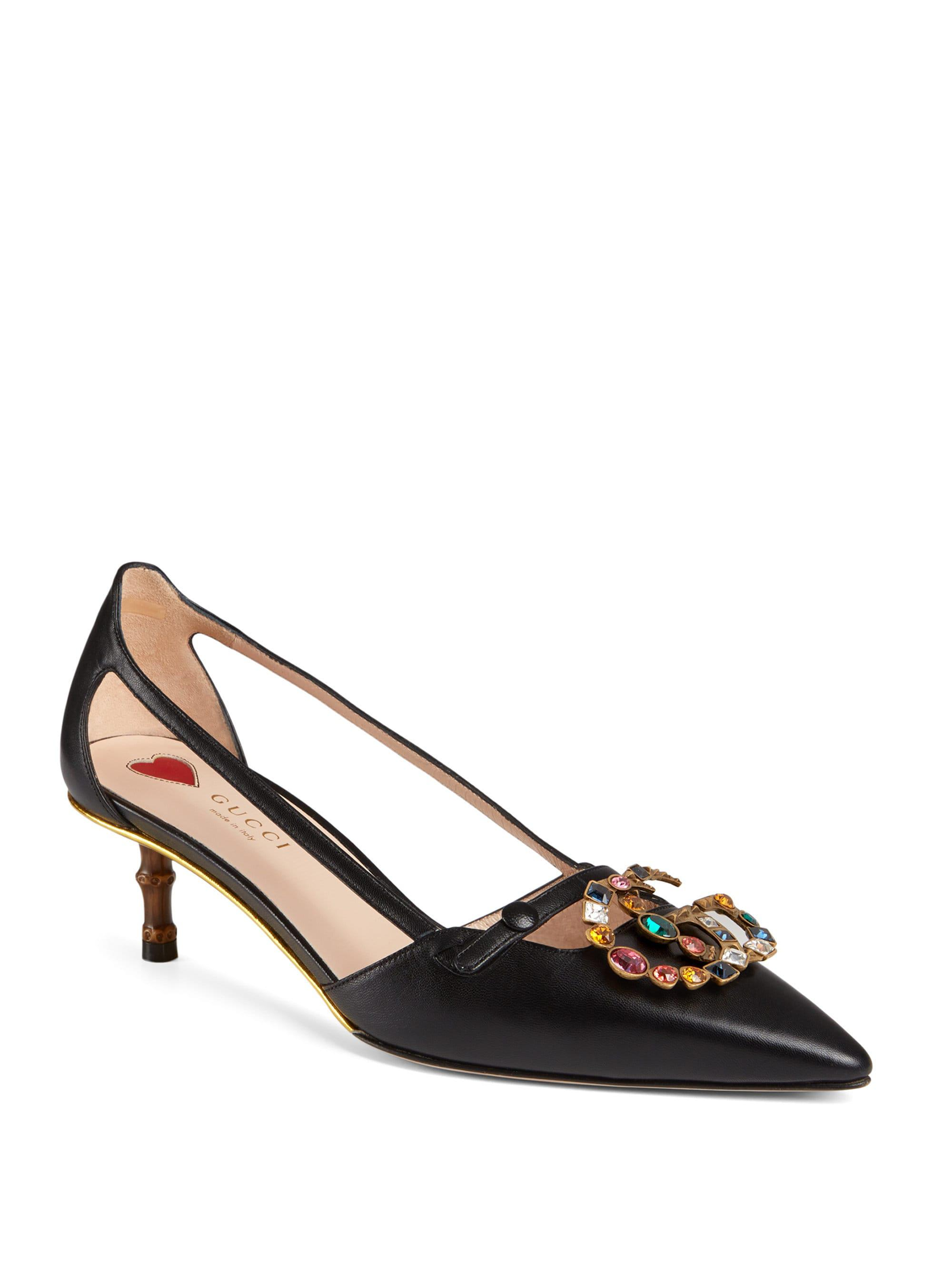Gucci Leather Pump With Crystal Double