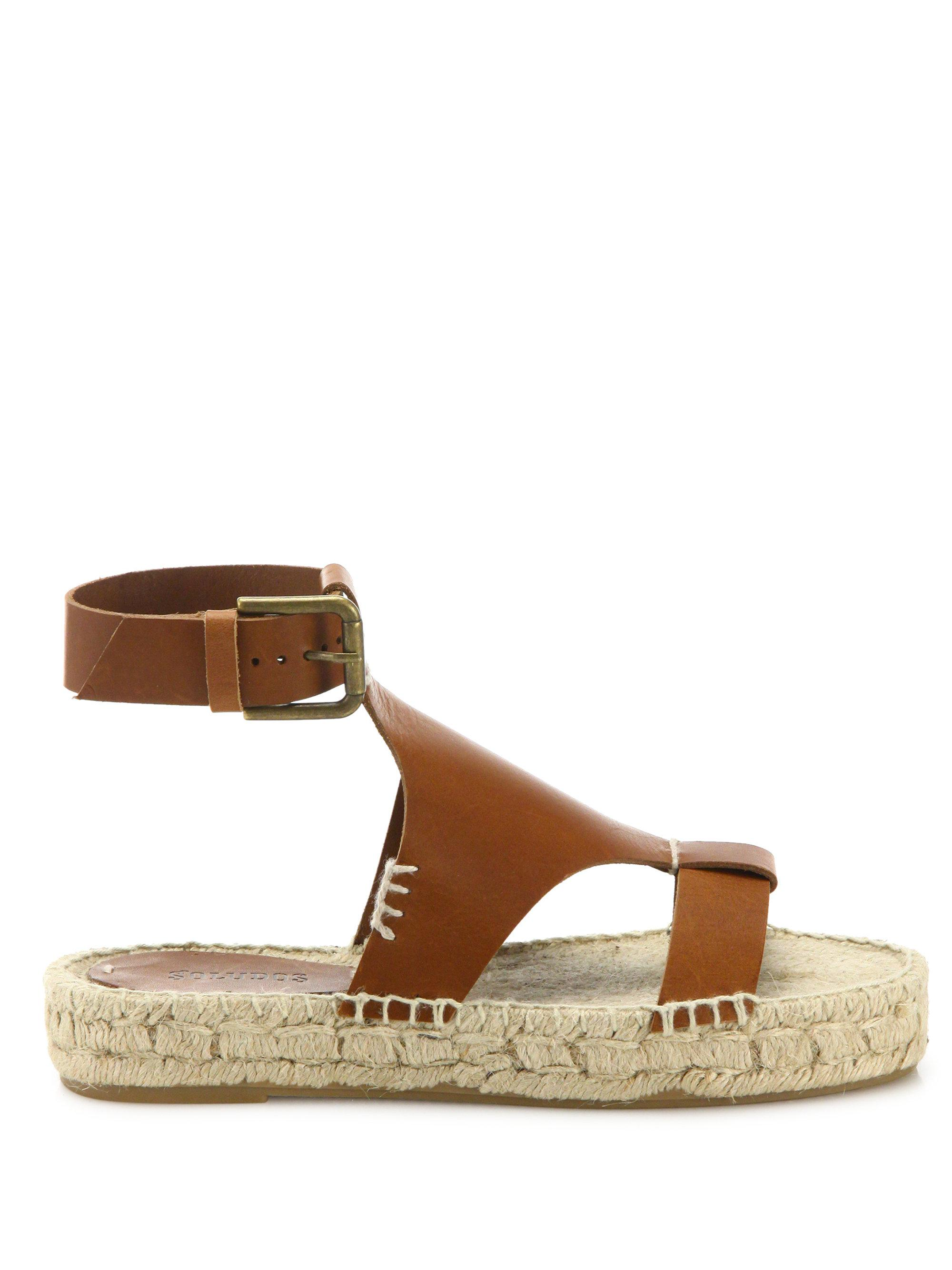 747eed48073 Lyst - Soludos Banded Shield Leather Flatform Espadrilles in Purple
