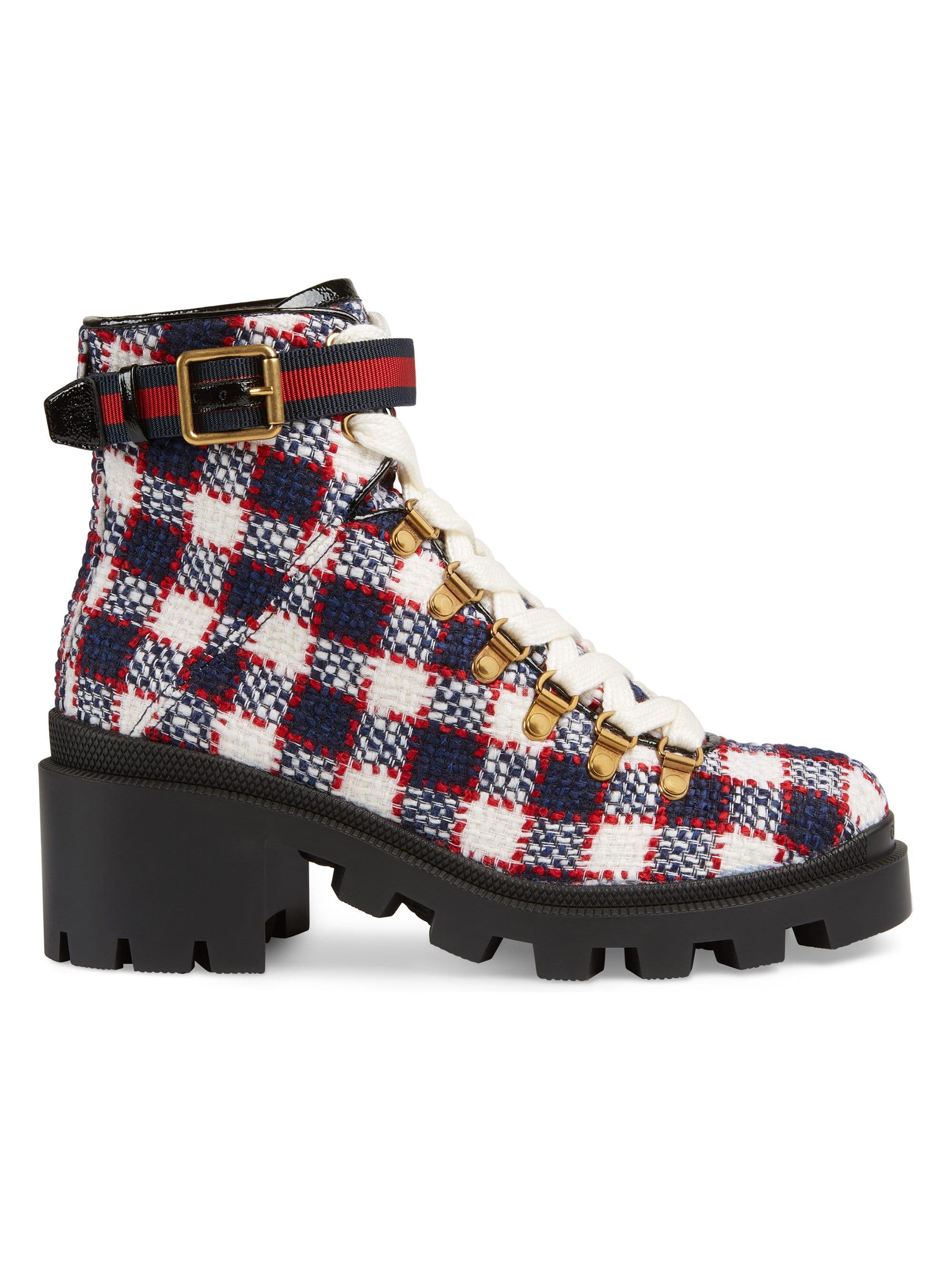 2bf5fc87d Gucci Women's Trip Check Combat Boots - Mystic White - Lyst