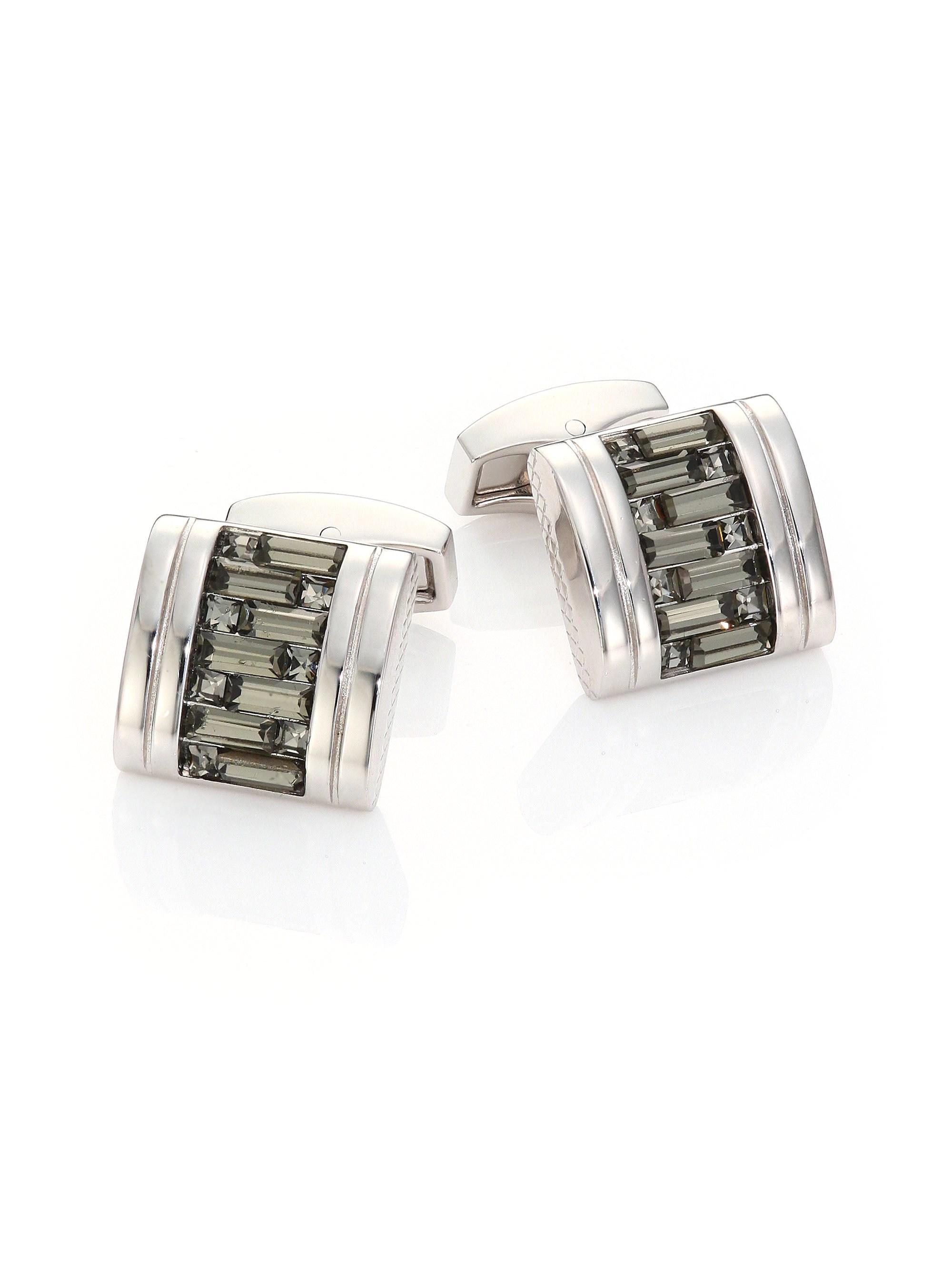 6ae3763bbb61 Tateossian silver mens interlocked swarovski crystal cuff links silver jpg  2000x2667 Swarovski cufflinks for men