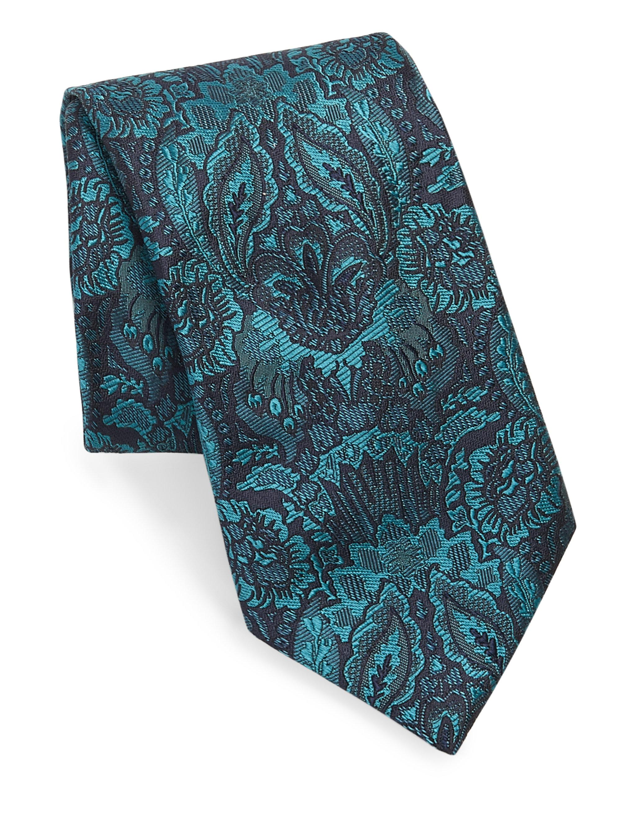 Lyst brioni embroidered floral print silk tie in blue