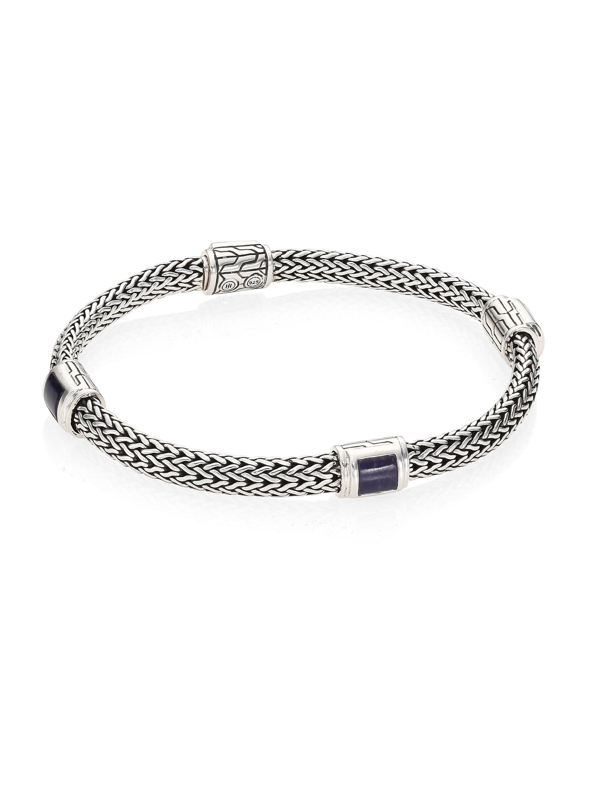 John Hardy Classic Chain Silver Extra-Small Four Station Bracelet with Garnet JwZIFQ