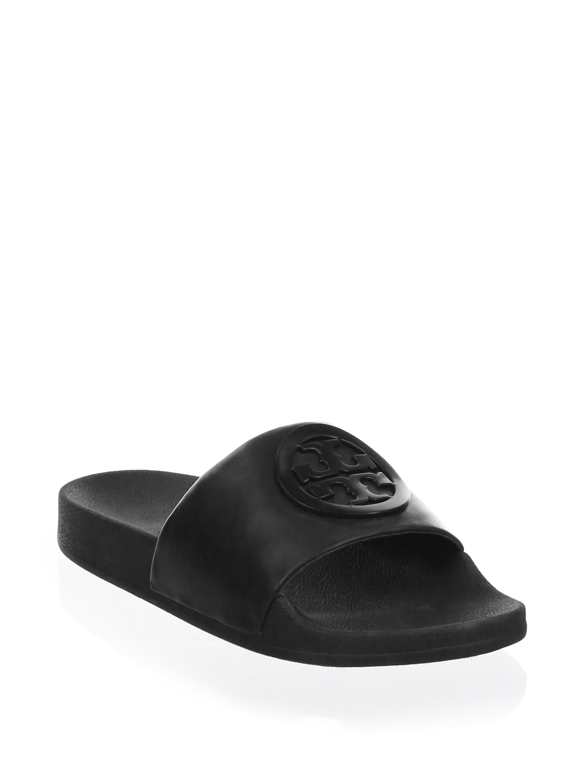 89c616c7fbaa Lyst - Tory Burch Lina Leather Slides in Black