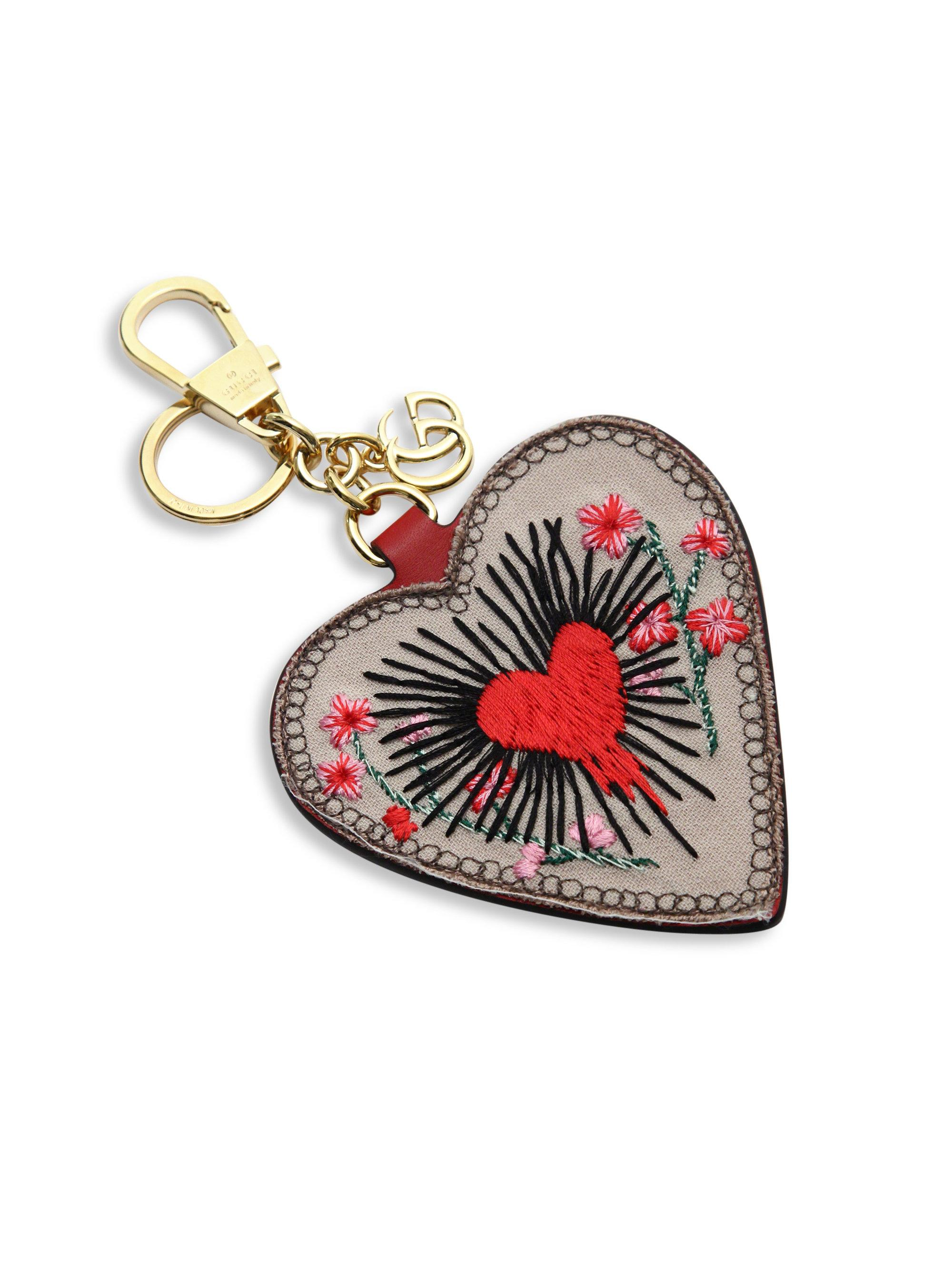 6d741bd3b0b Lyst - Gucci Embroidered Leather Heart Keychain in Red