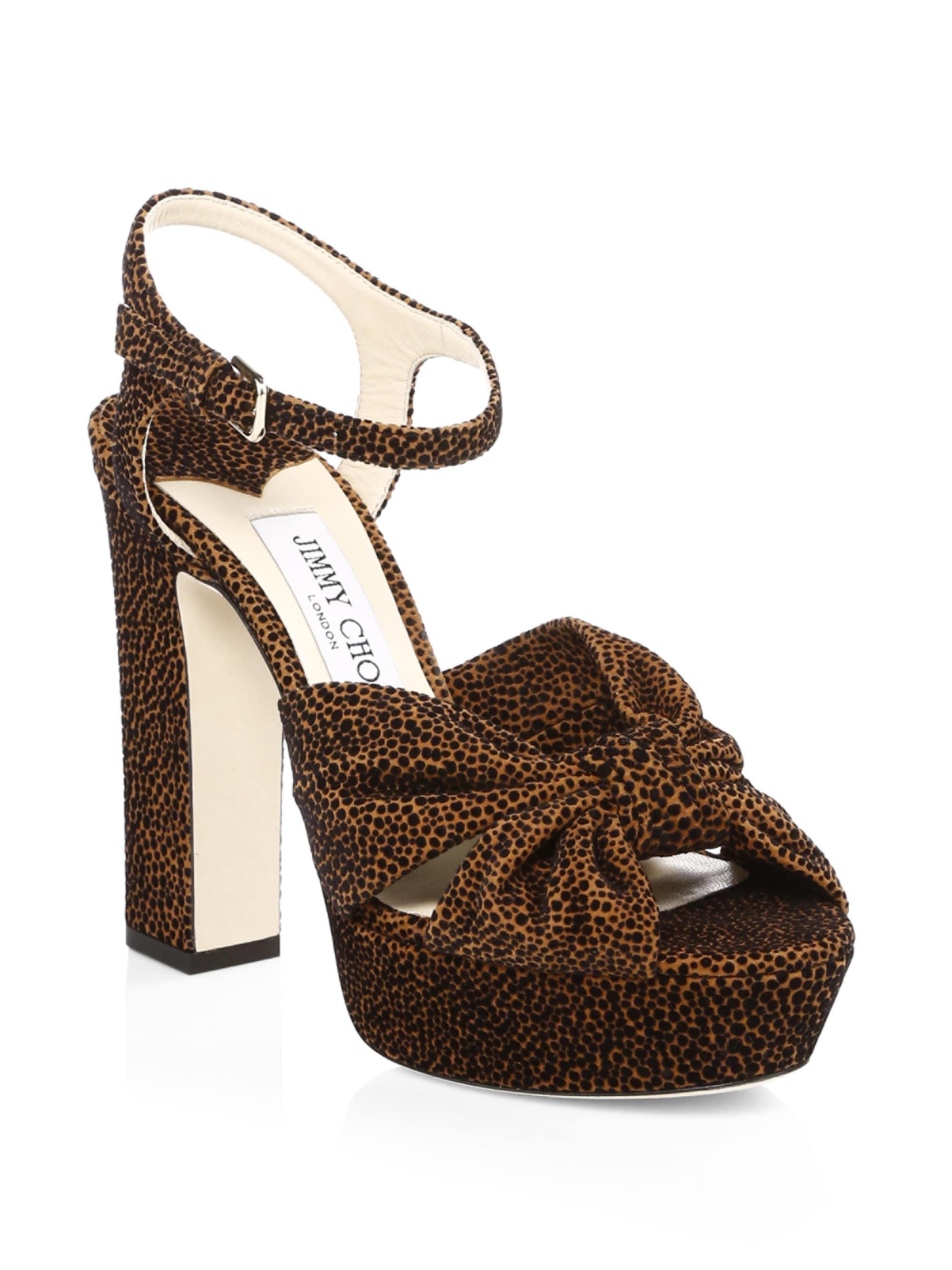 821ec6dc37c5 Jimmy Choo Heloise Leopard Print Platform Sandals in Brown - Lyst