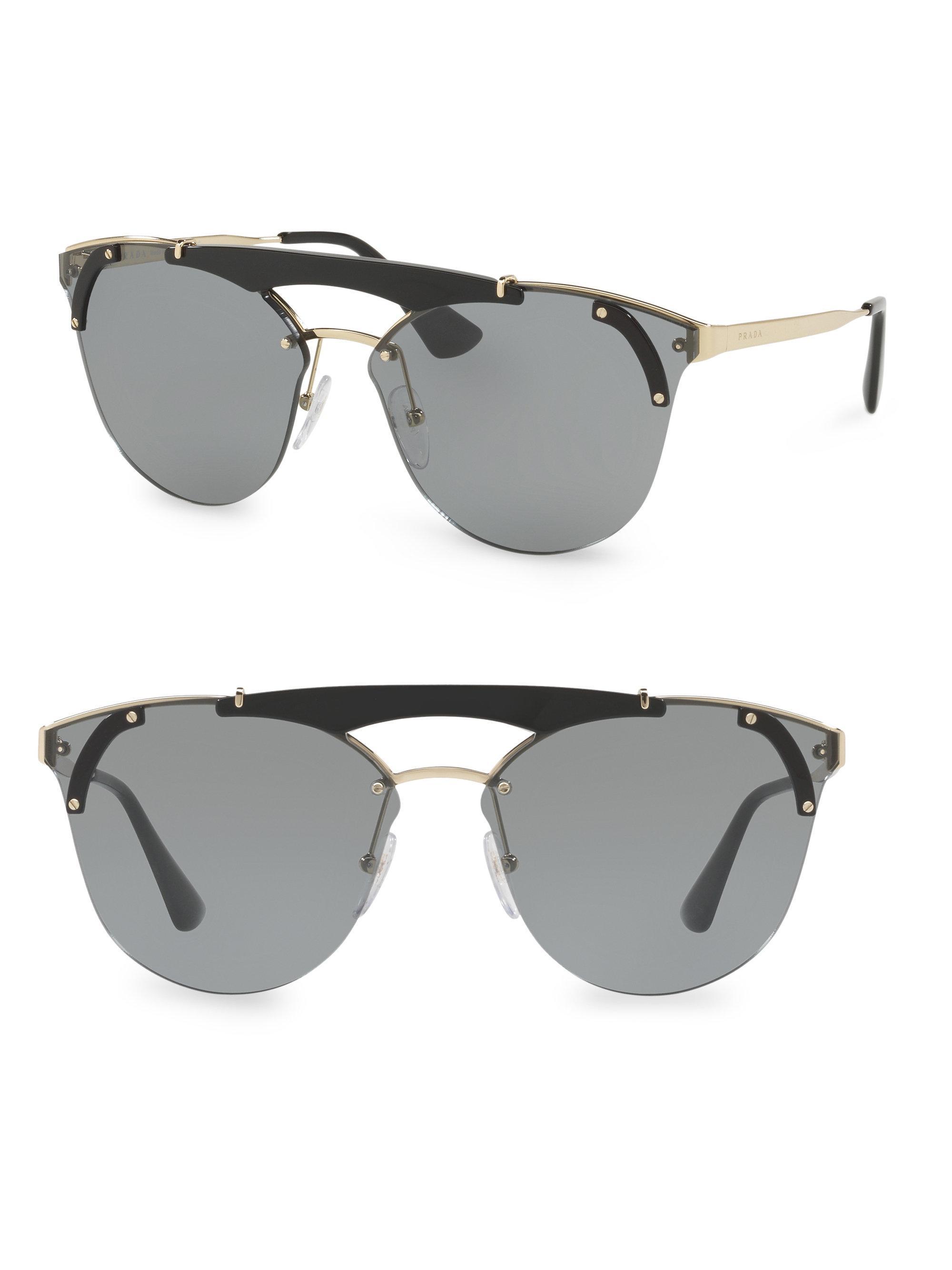 4d37ed39f26 Lyst - Prada Deconstructed Rimless Sunglasses in Metallic