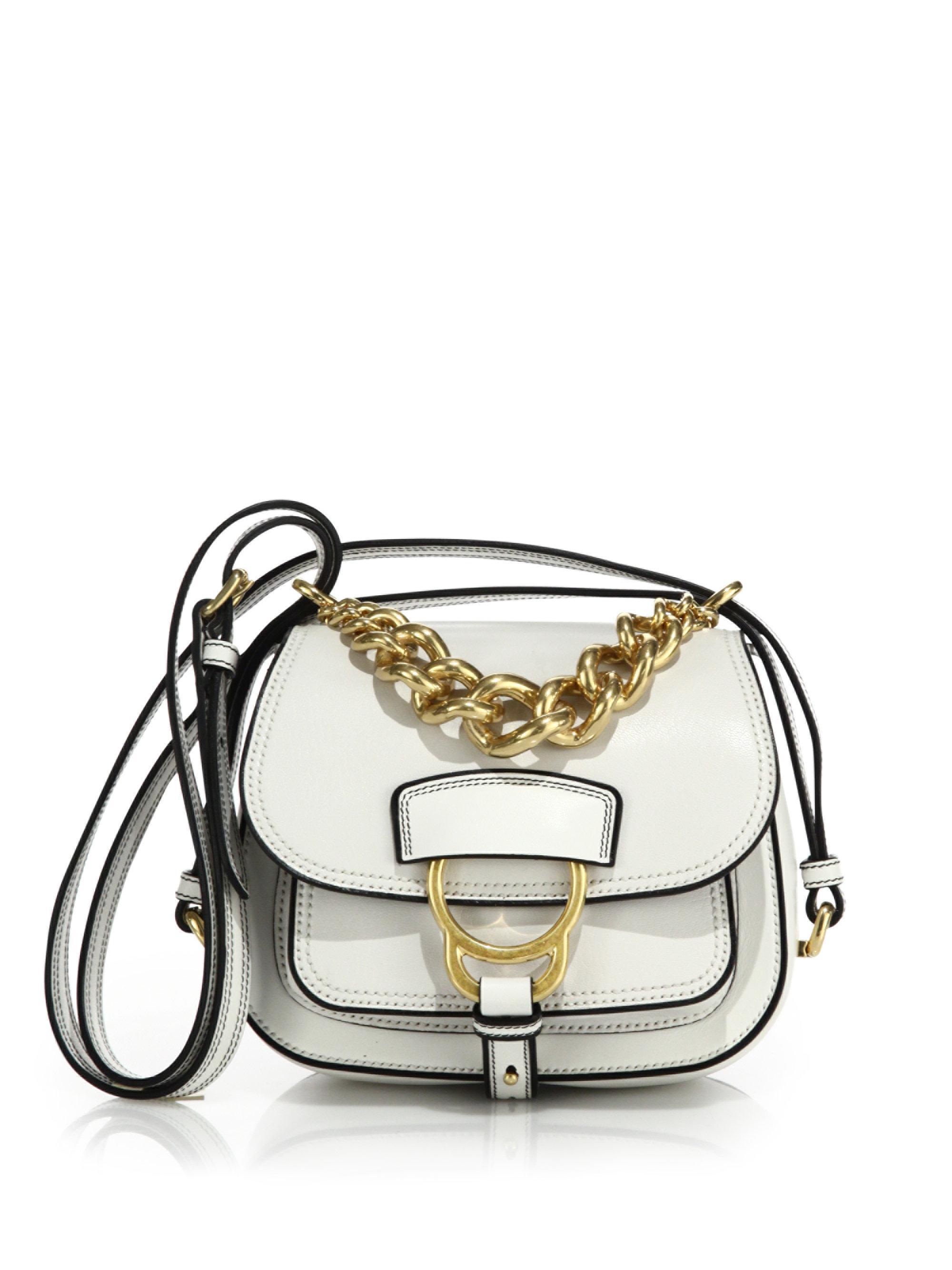b1b5e3f11eba Miu Miu Dahlia Small Madras Leather Saddle Bag in White - Lyst