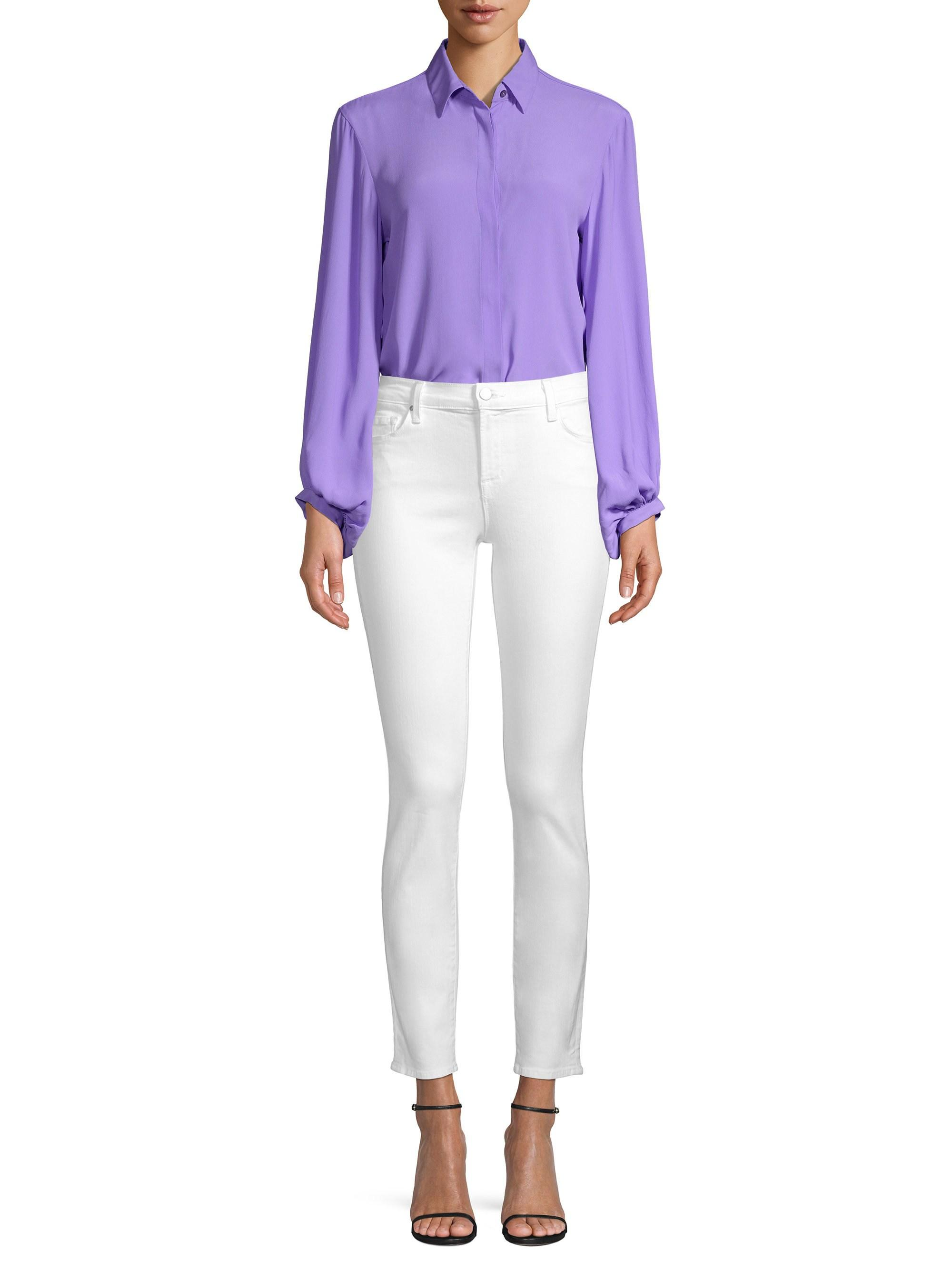 c8f233259df346 Beatrice B. Women's Silk-blend Button-front Blouse - Lilac - Size 52 ...