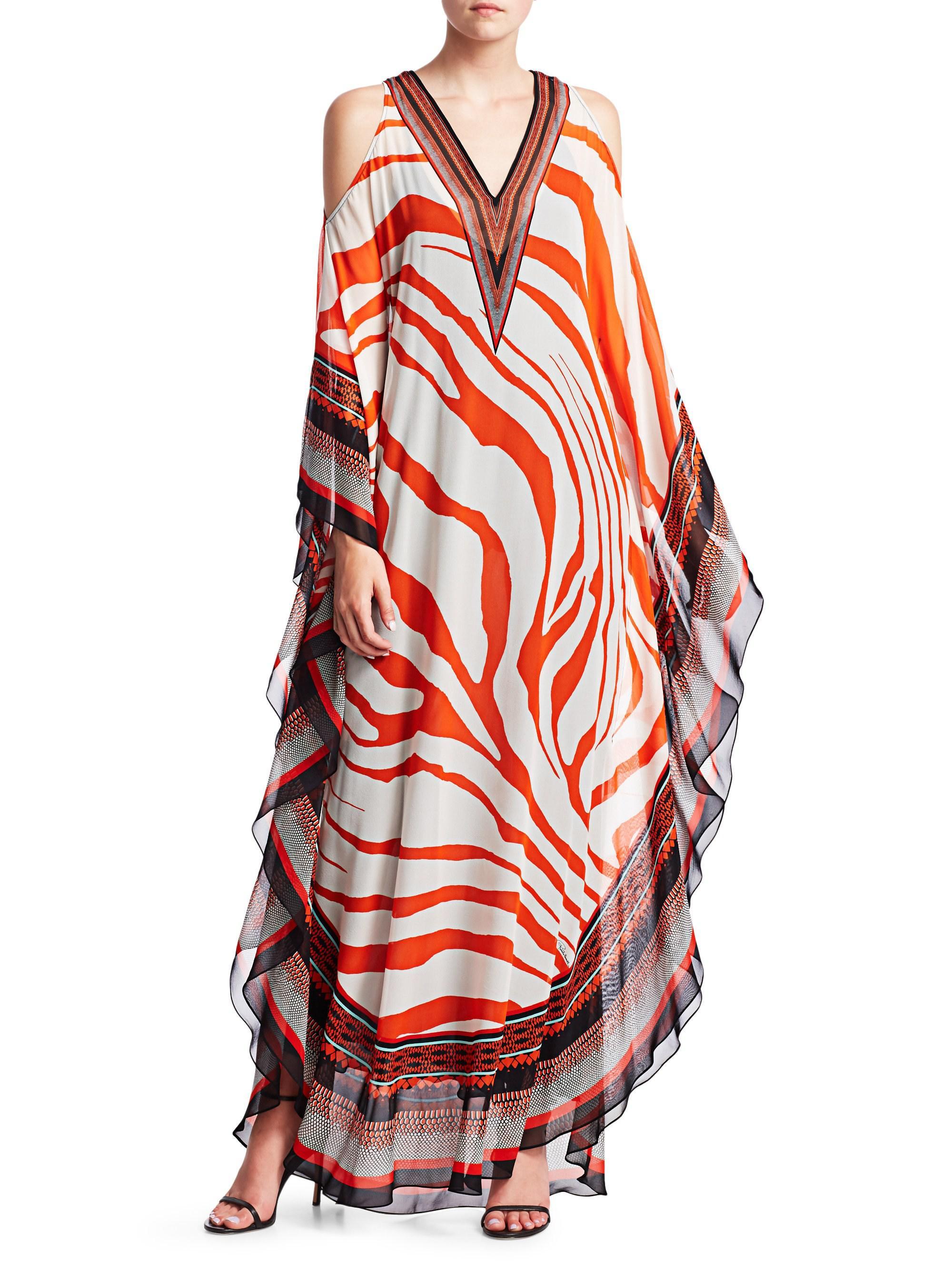 0c39210a628c3 Roberto Cavalli Cold-shoulder Zebra Print Caftan in Red - Lyst