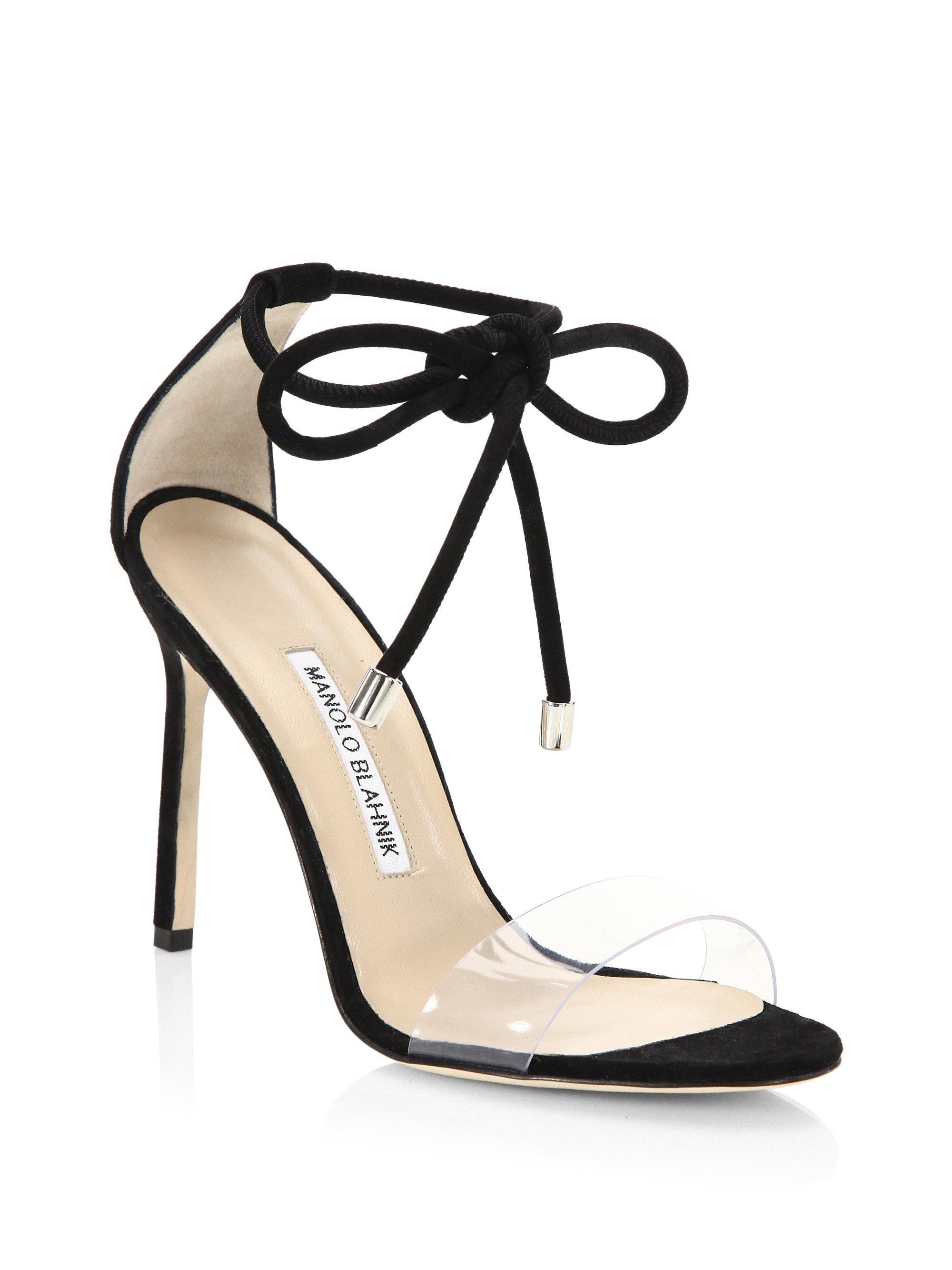 d532a9c314691 Manolo Blahnik Estro Ankle Tie Stilettos in Black - Lyst