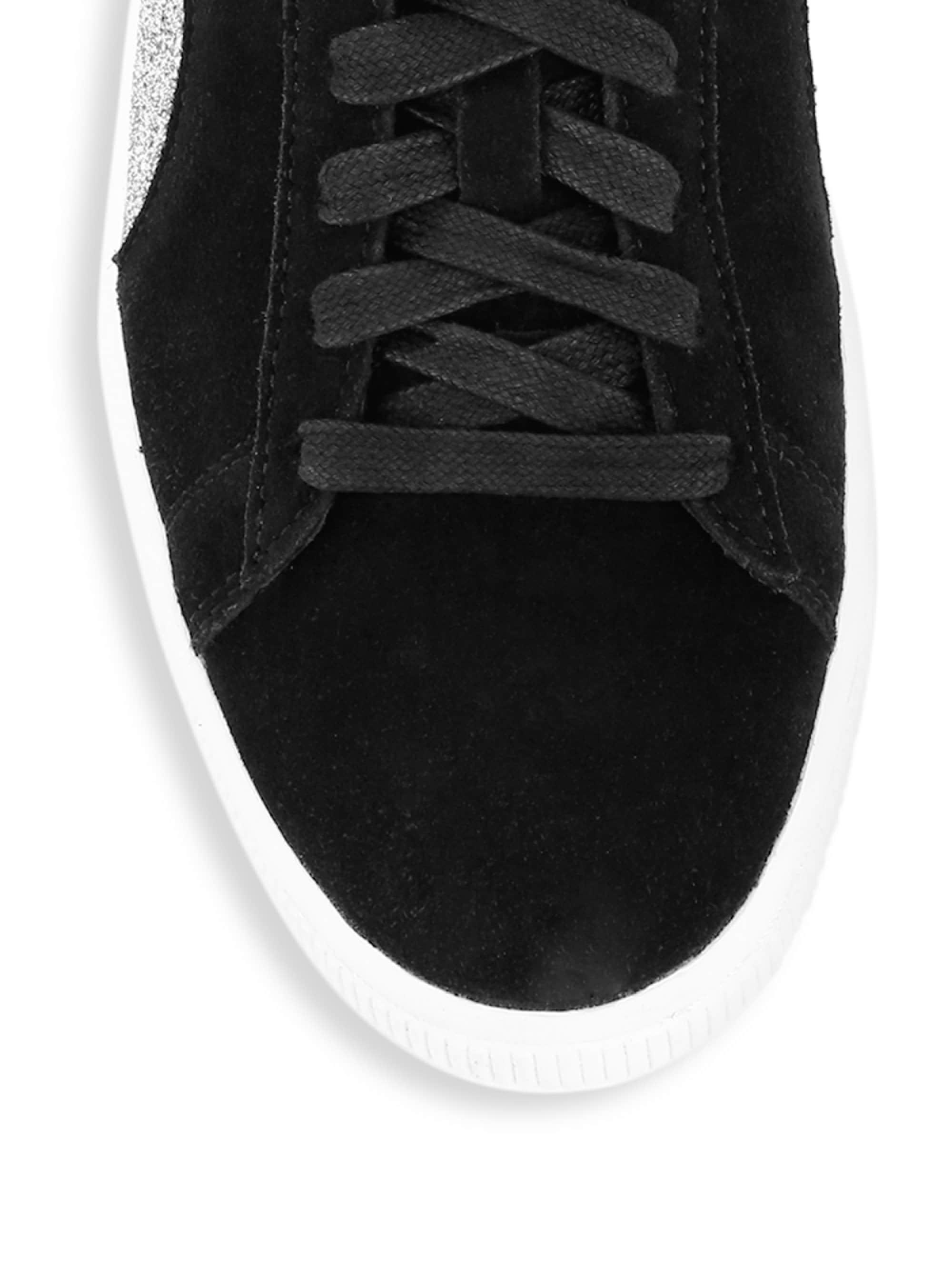 Lyst - PUMA X Swarovski Suede Sneakers in Black 42ba4bda8