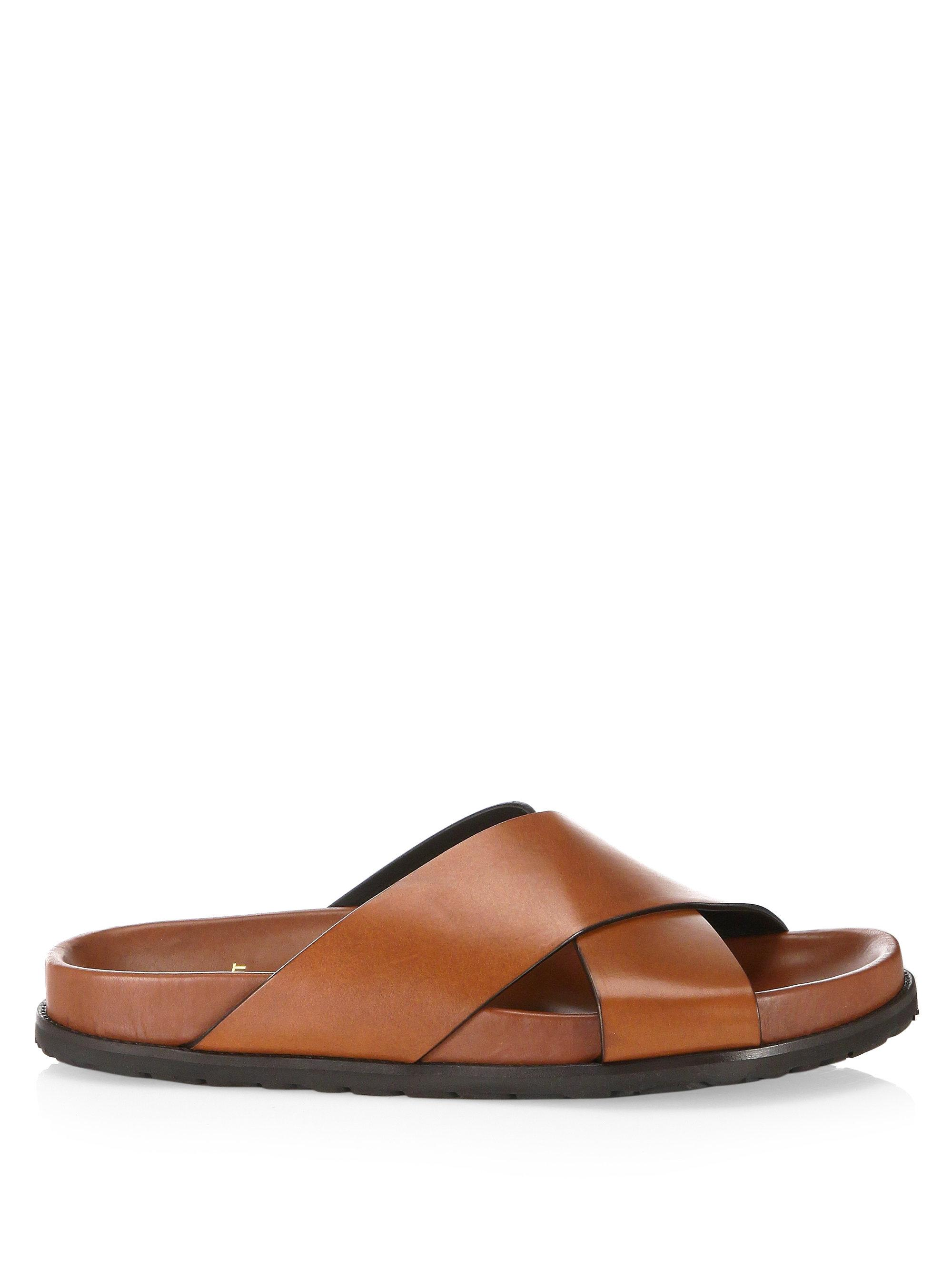 Saint Laurent Jimmy Crisscross Leather Flat Sandals